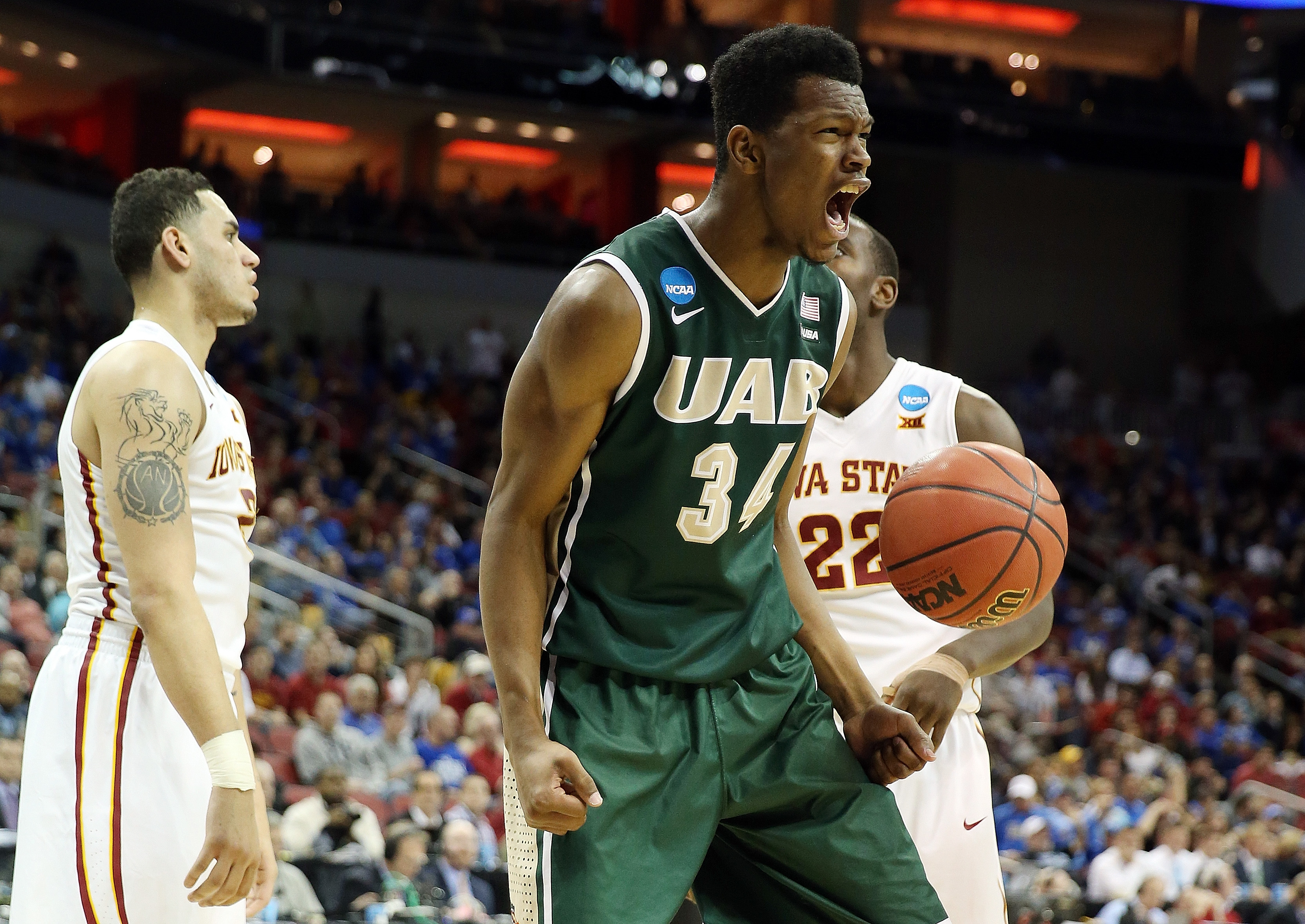 William Lee #34 of the UAB Blazers reacts after a play against the Iowa State Cyclones during the second round of the 2015 NCAA Men's Basketball Tournamenat