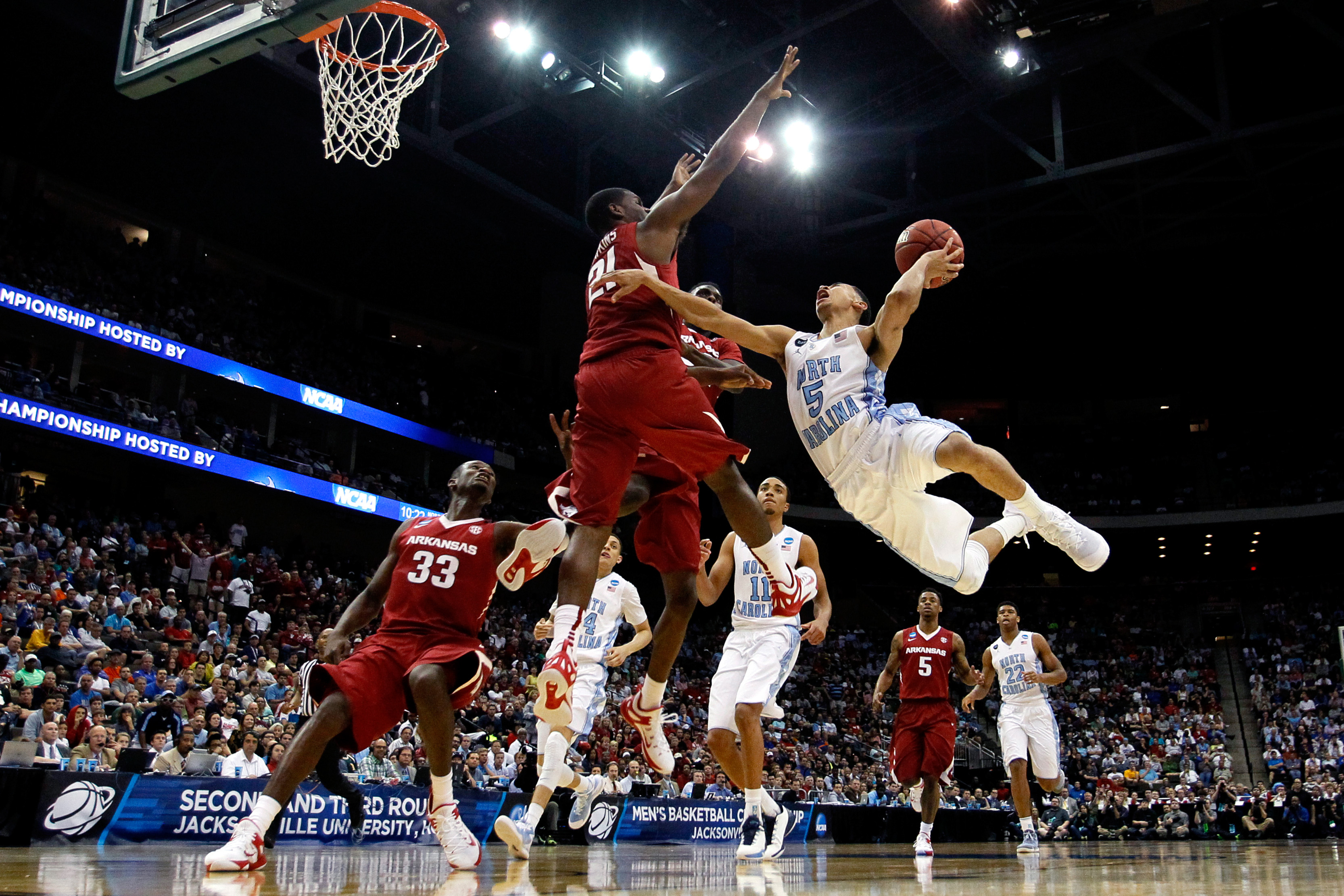 during the third round of the 2015 NCAA Men's Basketball Tournament at Jacksonville Veterans Memorial Arena on March 21, 2015 in Jacksonville, Florida.