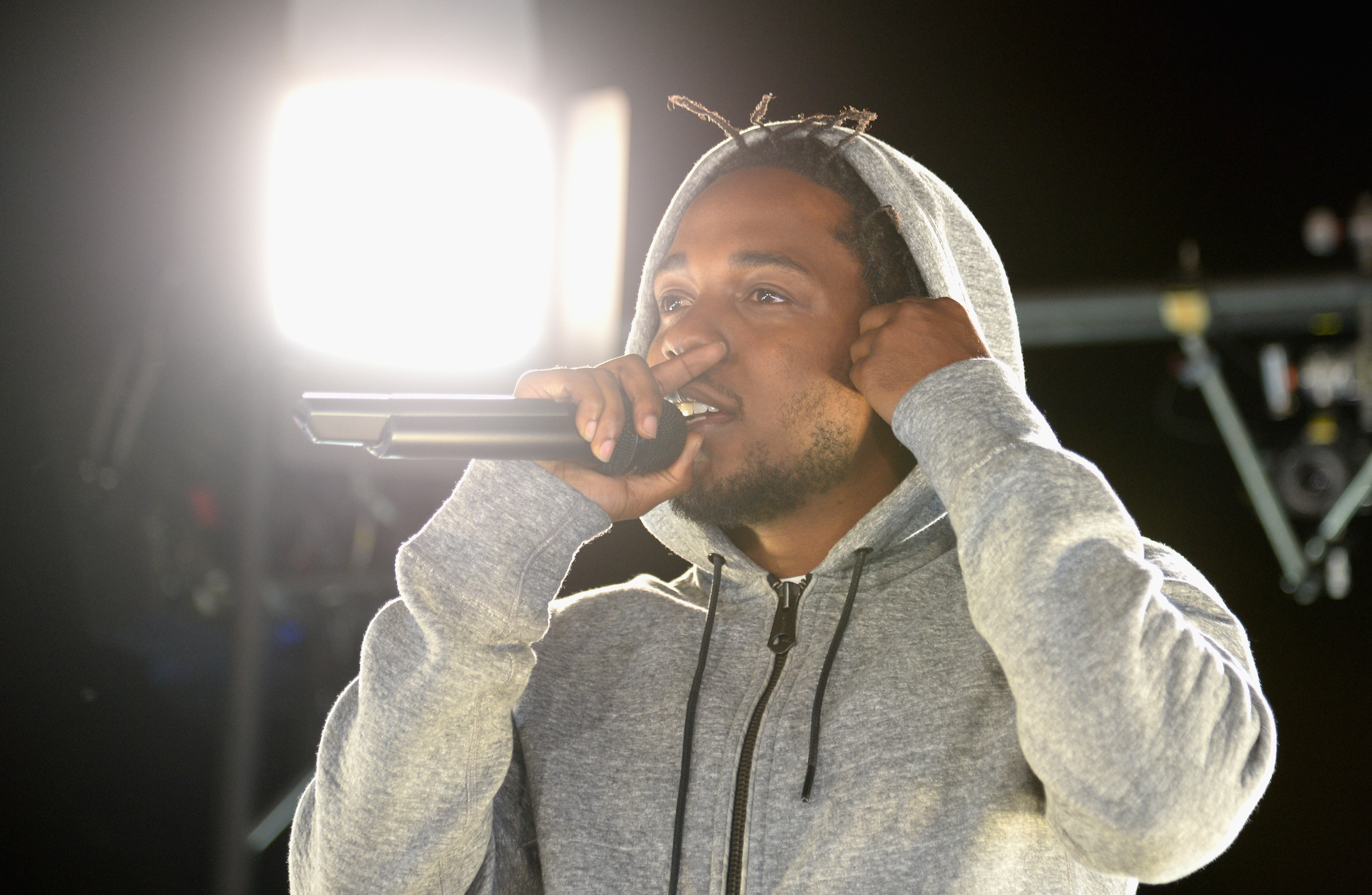 Kendrick Lamar performs at #GETPUMPED live event. Reebok And Kendrick Lamar Take Over The Streets Of Hollywood, Fusing Fitness And Music With A Ground-Breaking Event on March 24, 2015 in West Hollywood, California.