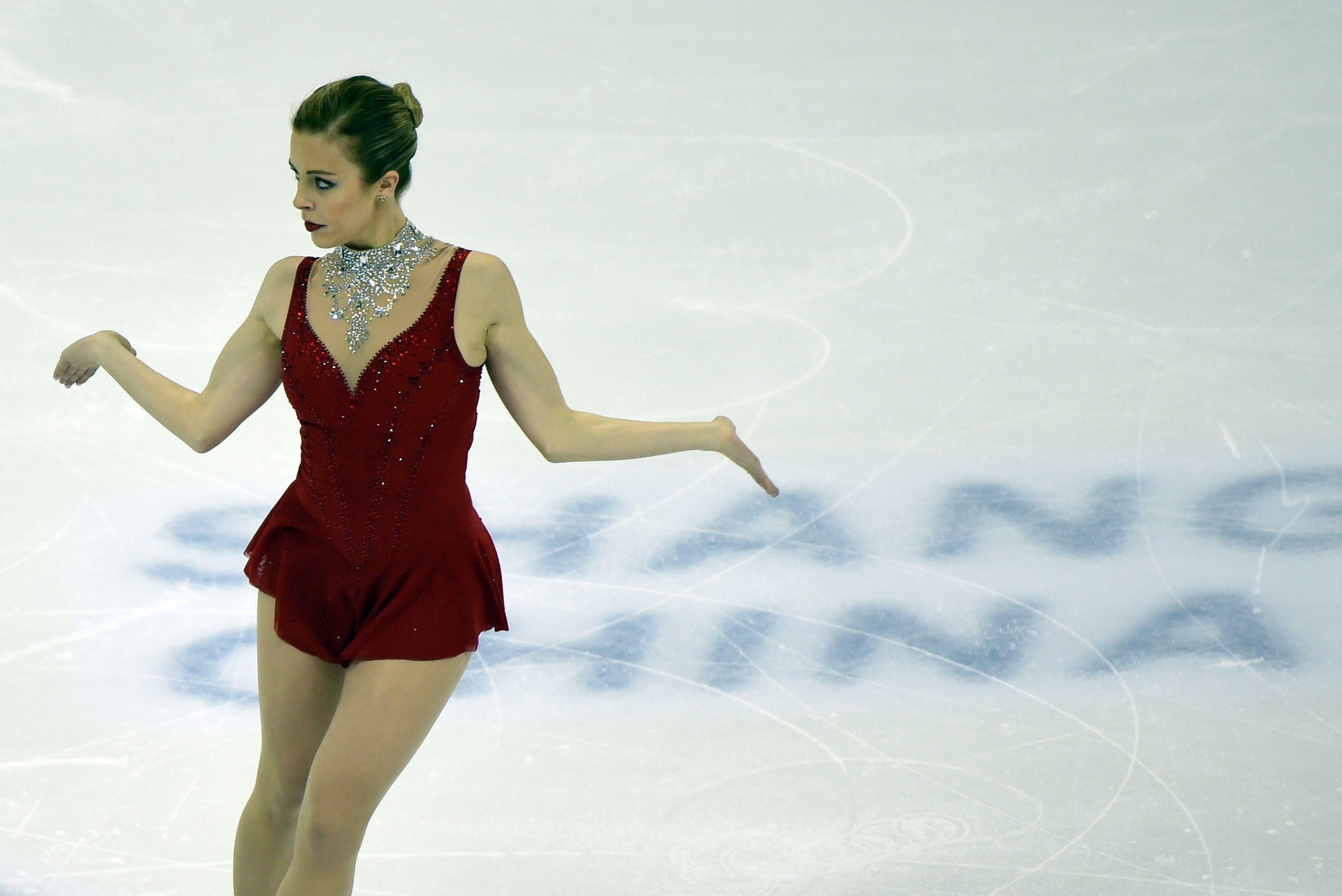 Ashley Wagner of the US competes in the ladies' free skating of the 2015 ISU World Figure Skating Championships at the Shanghai Oriental Sports Center in Shanghai on March 28, 2015.