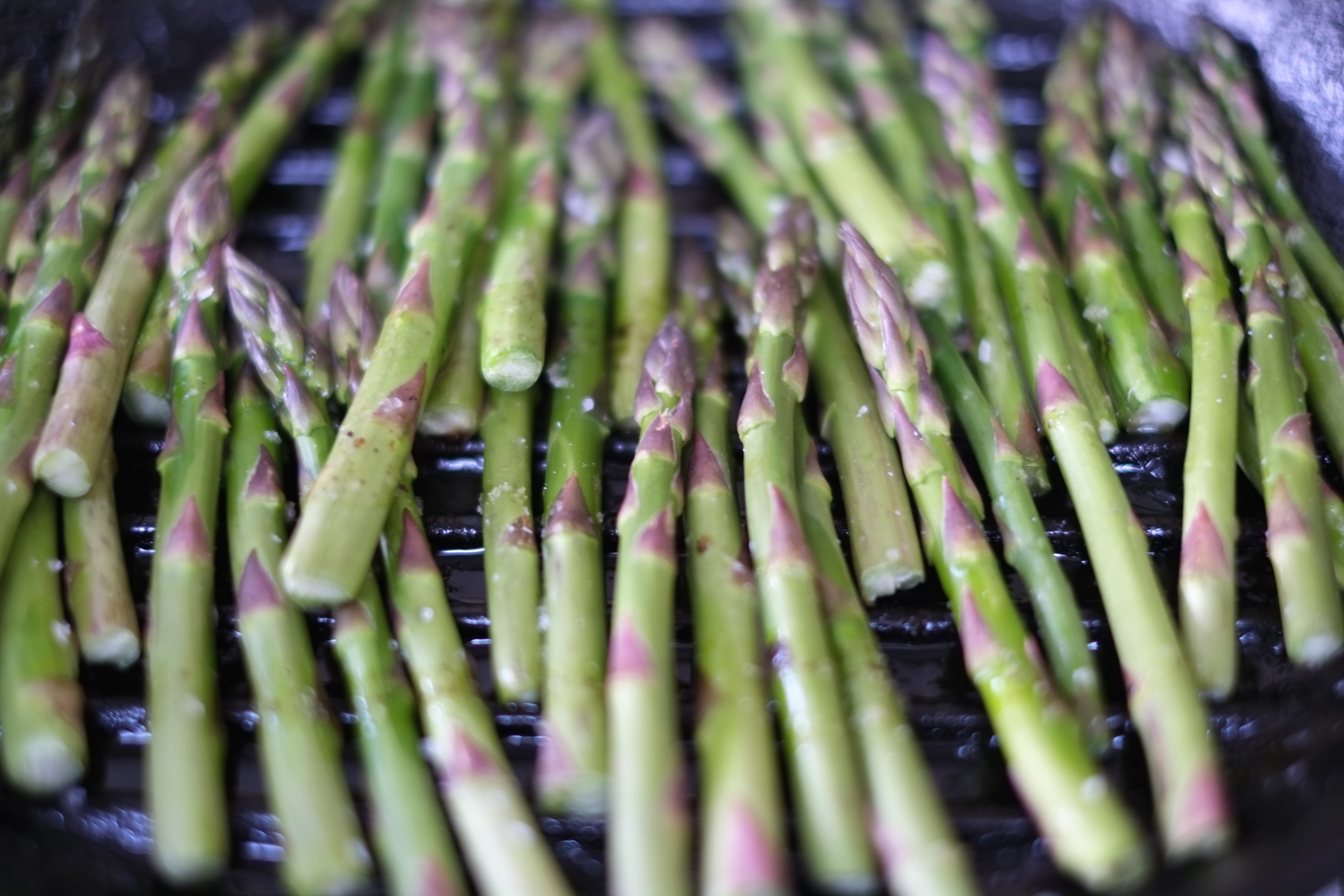 Asparagus: During April, asparagus will be nice and thick with less white to trim off the bottom.