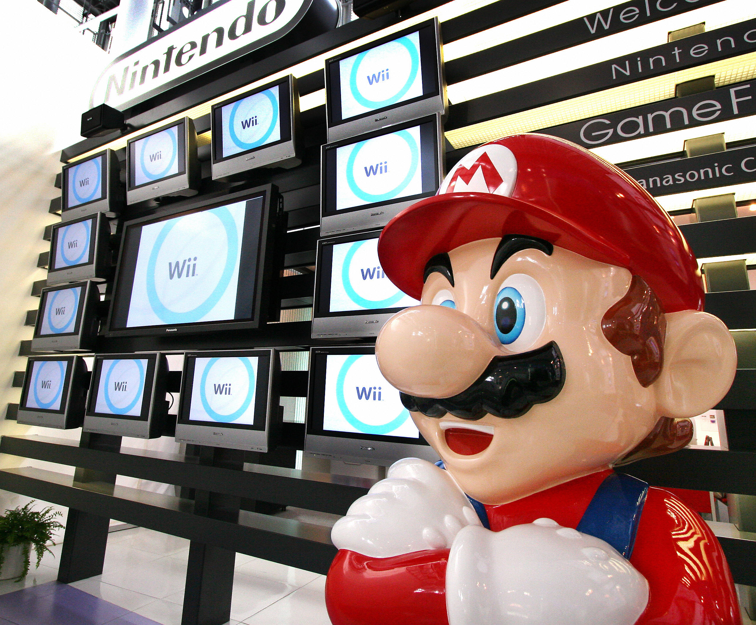 Japanese video game giant Nintendo's game character Super Mario stands at a showroom in Tokyo 25 January 2007.