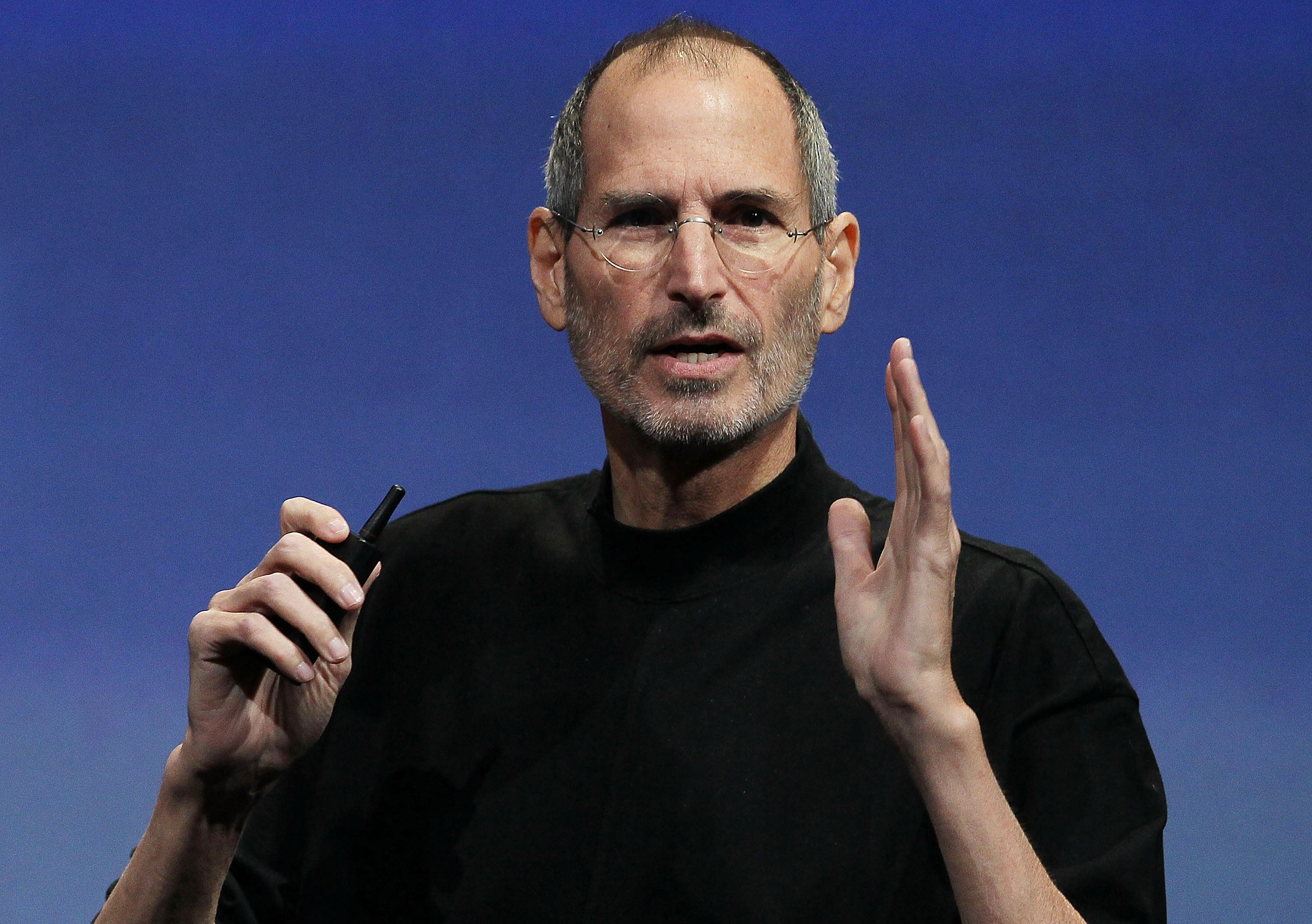 Apple CEO Steve Jobs speaks during an Apple special event April 8, 2010 in Cupertino, California.