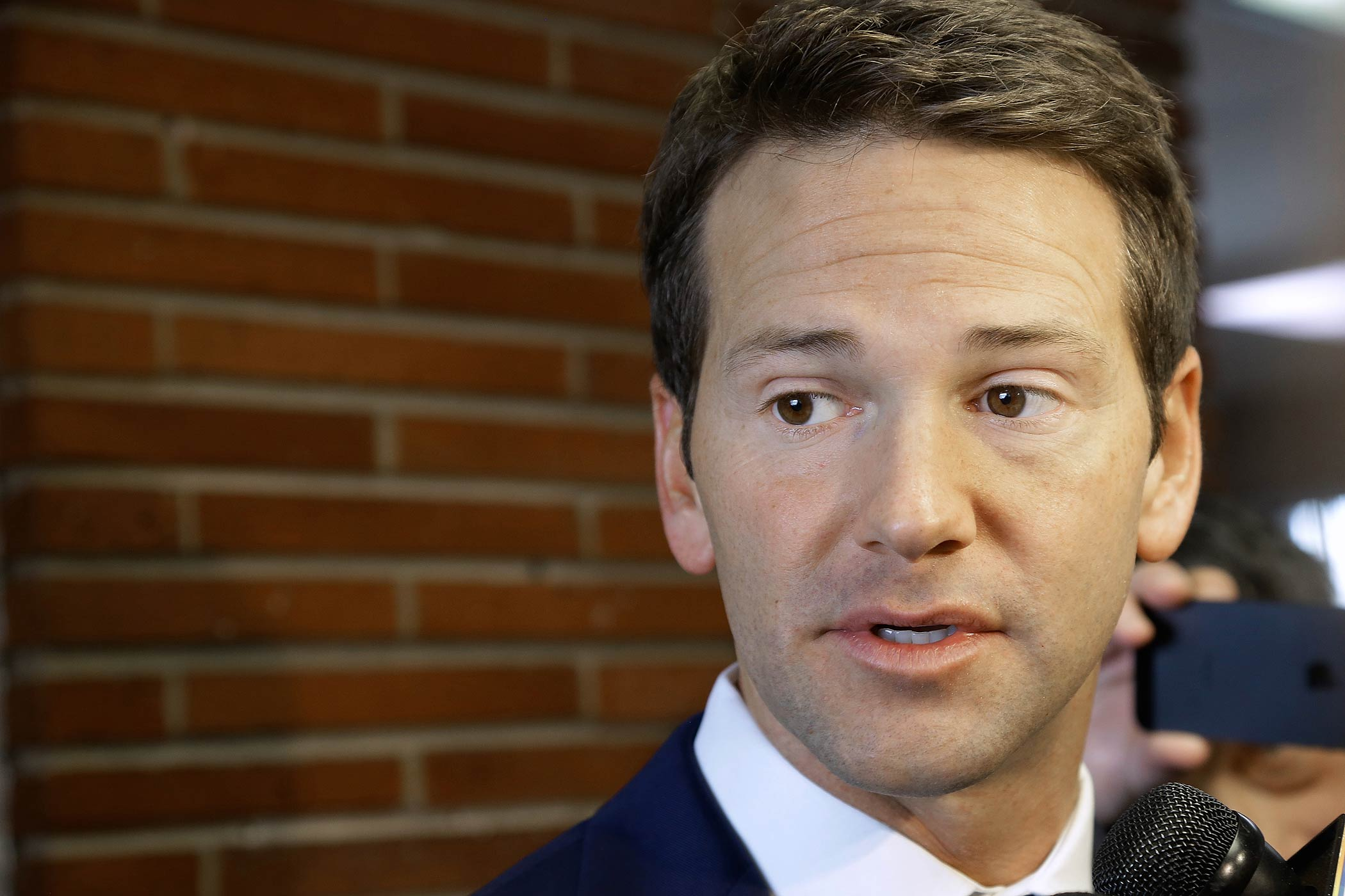 Representative Aaron Schock speaks to reporters in Peoria, Ill., on Feb. 6, 2015
