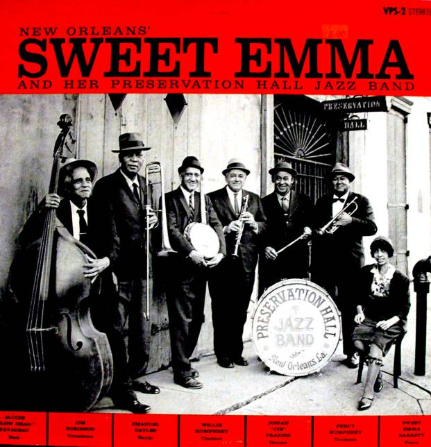 Sweet Emma Barrett and the Preservation Hall Jazz band, veterans of New Orleans jazz, performed before a live audience on this 1964 album, which helped spark a revival of interest in the older style. (Preservation Hall/Library of Congress)