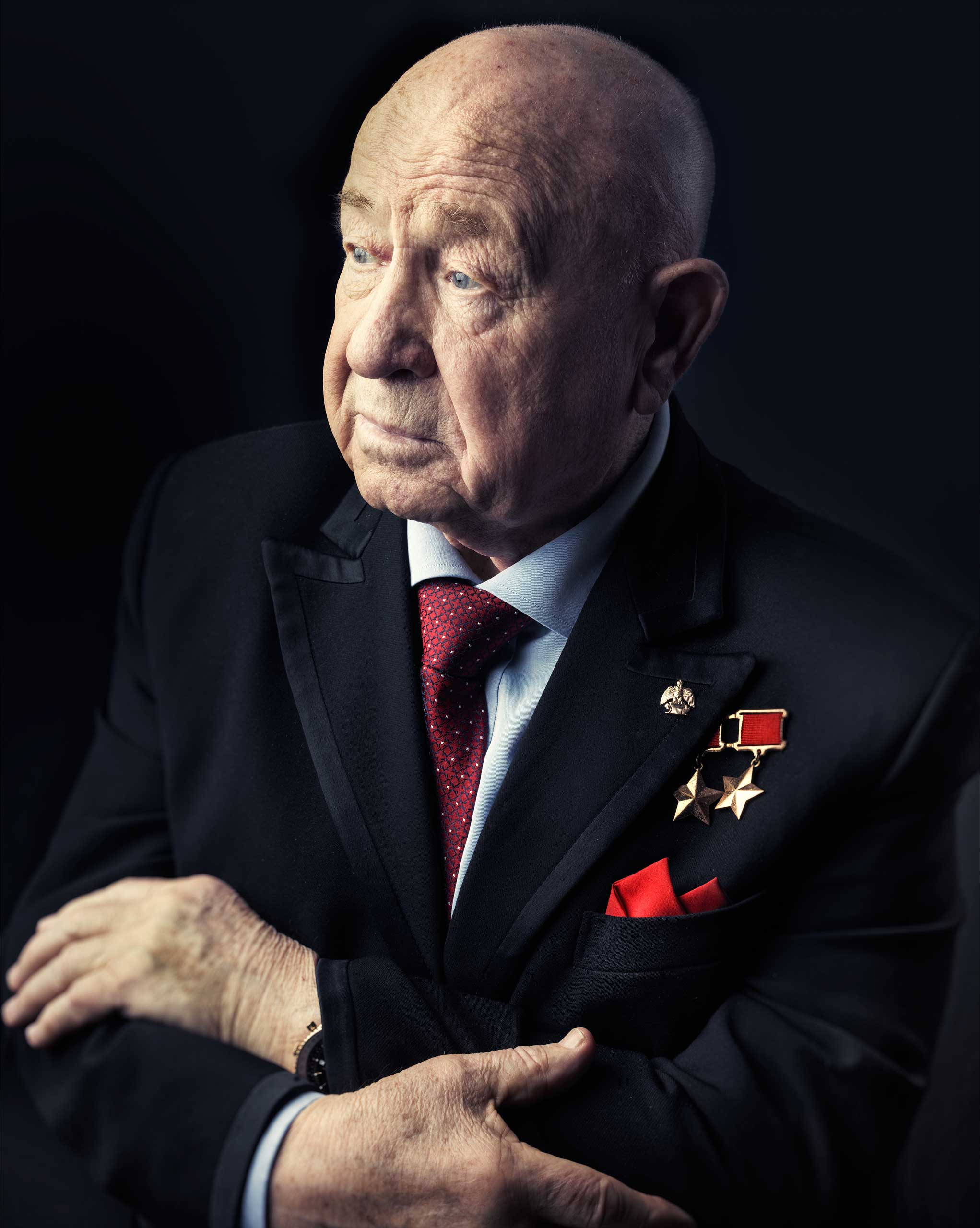 Alexei Leonov, the first man to walk in space, photographed at the age of 80 in his office in Moscow on March 12, 2015.