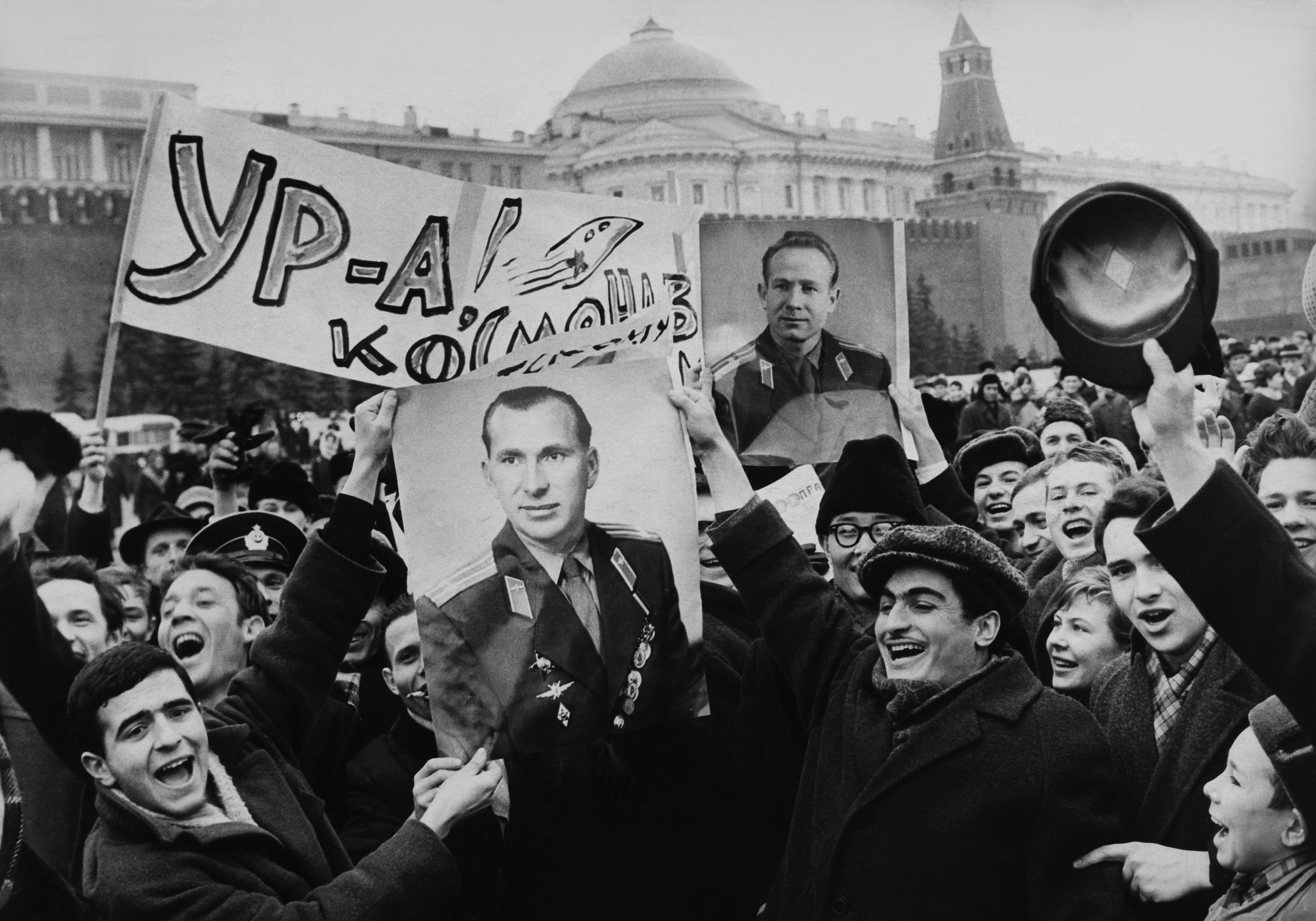 People celebrating the success of the mission Voskhod II in Moscow in 1965.