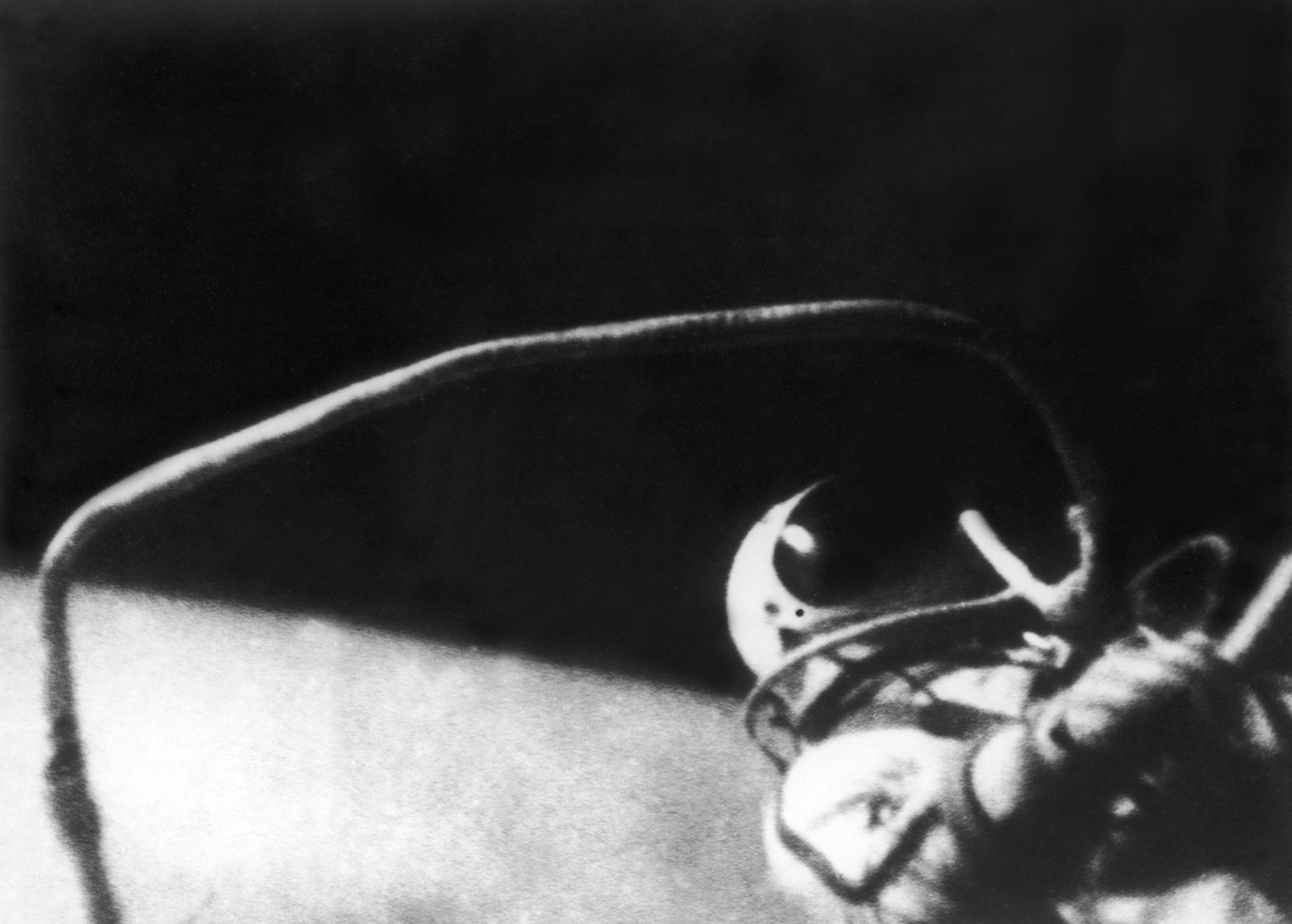 The astonaut Alexei Leonov floating in space during his first spacewalk on March 18, 1965.