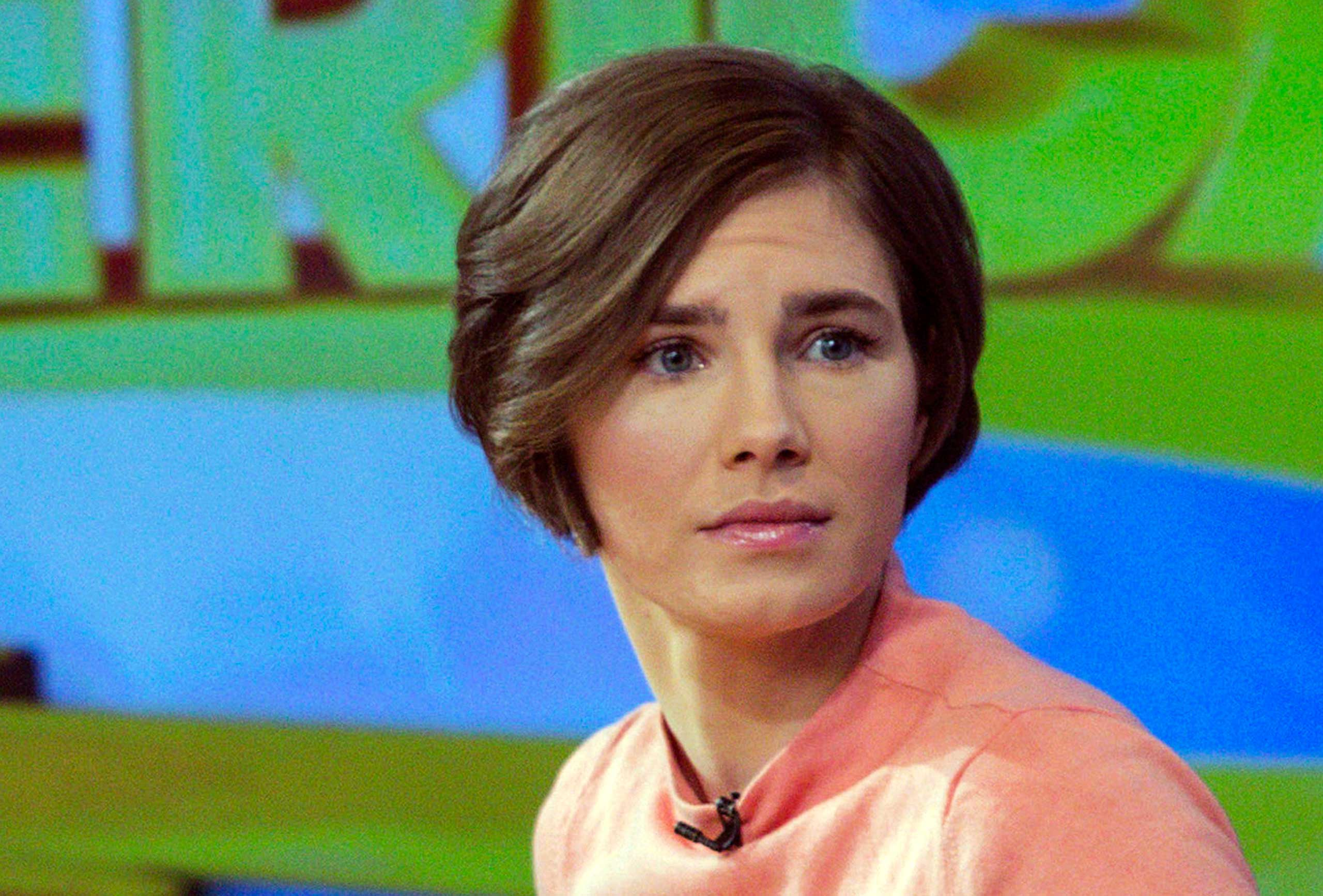 Amanda Knox reacts while being interviewed on the set of ABC's  Good Morning America  in New York in this January 31, 2014 file photo.