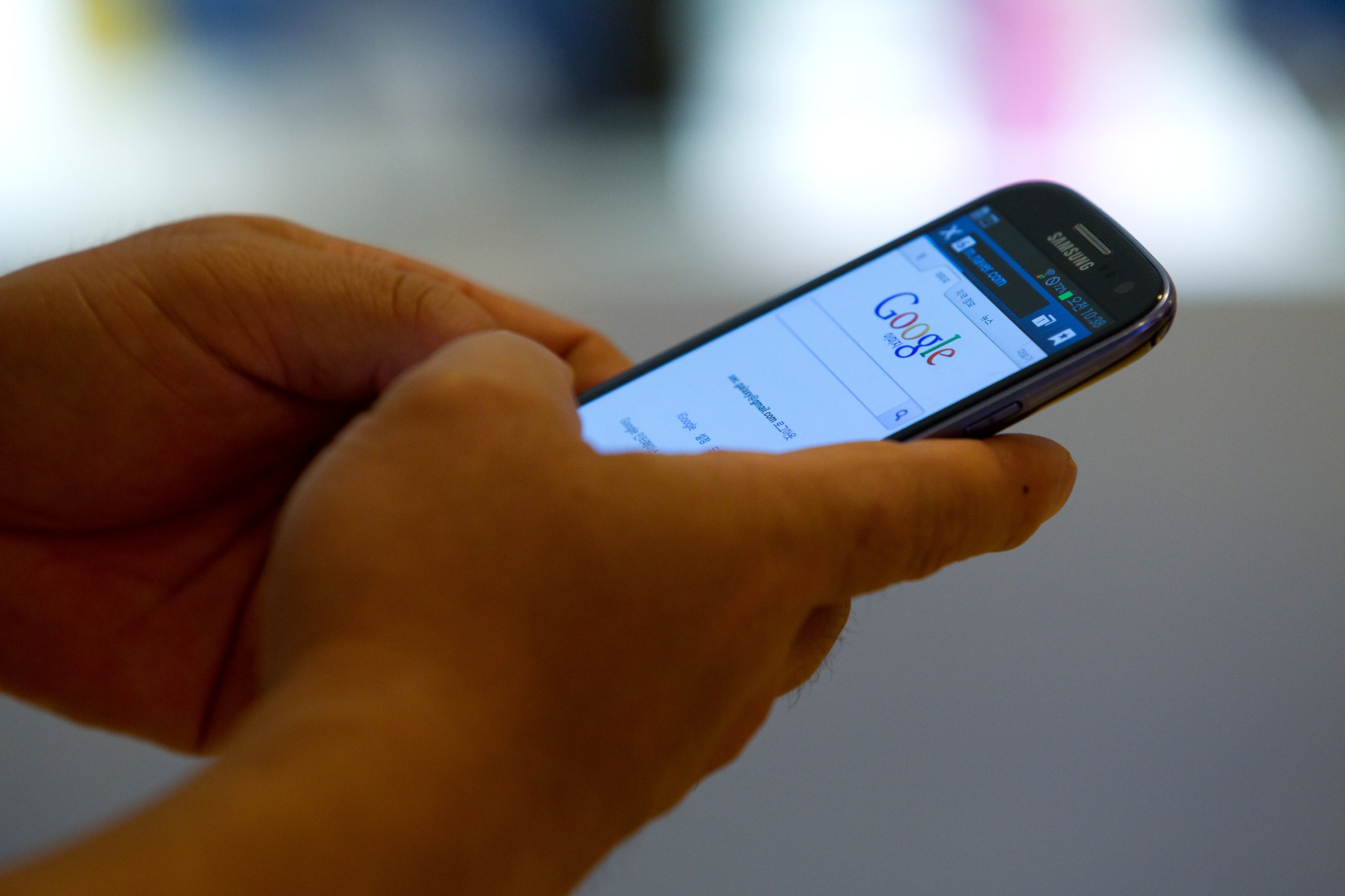 An Android phone running Google software.