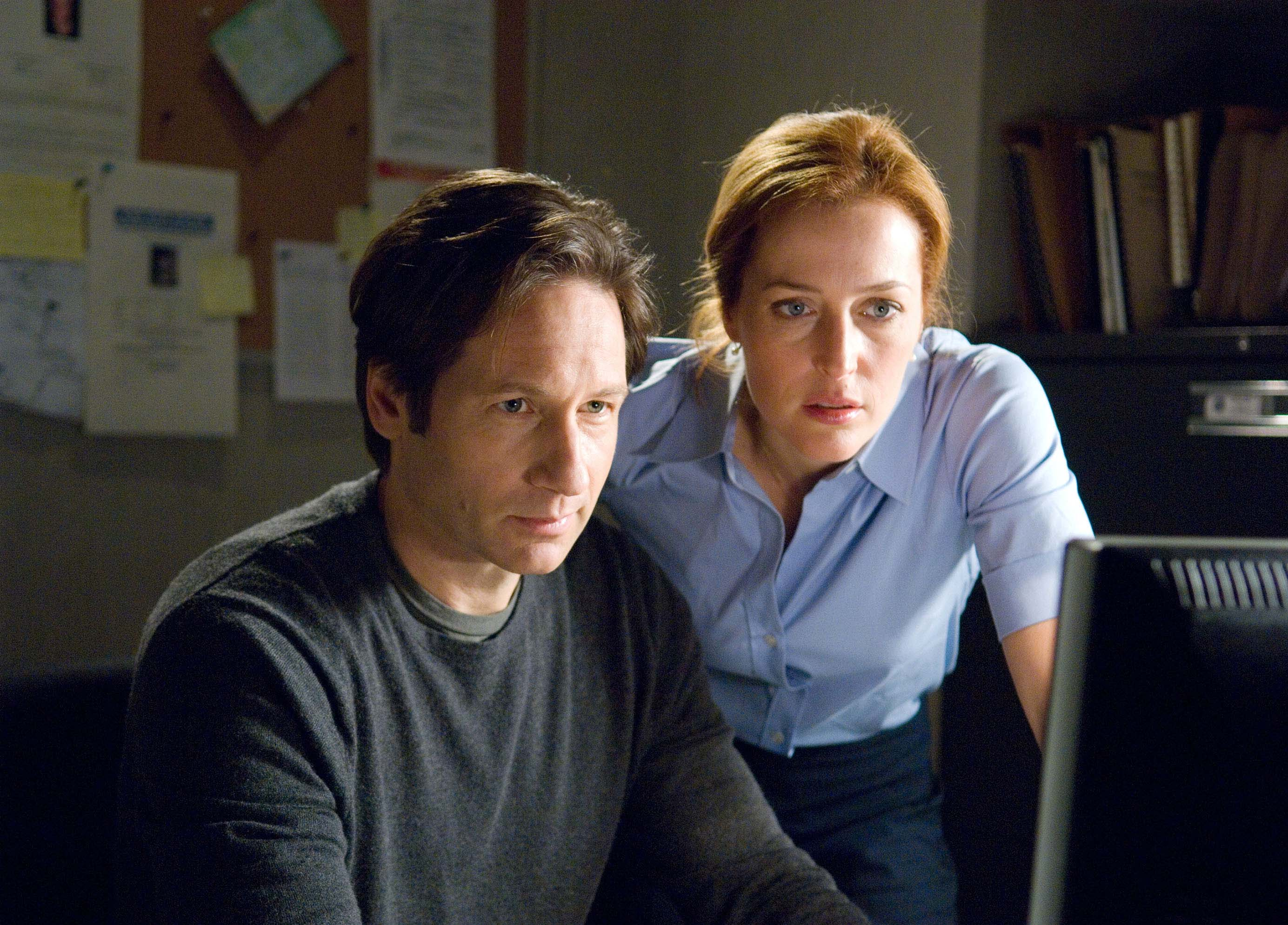 David Duchovny (L) and Gillian Anderson (R) are shown in a scene from,  The X-Files: I Want to Believe.