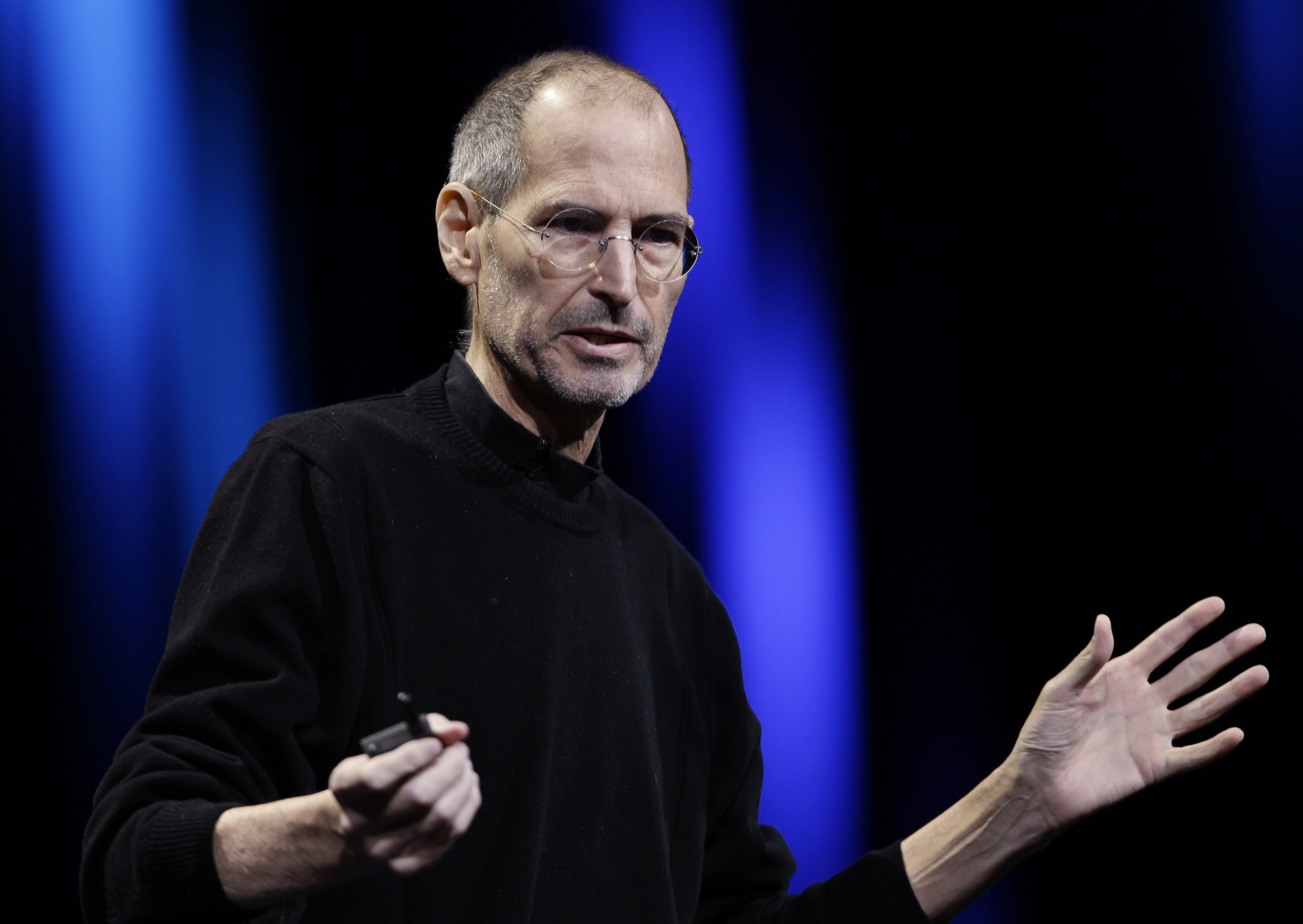 Steve Jobs during a keynote address to the Apple Worldwide Developers Conference in San Francisco on June 6, 2011.