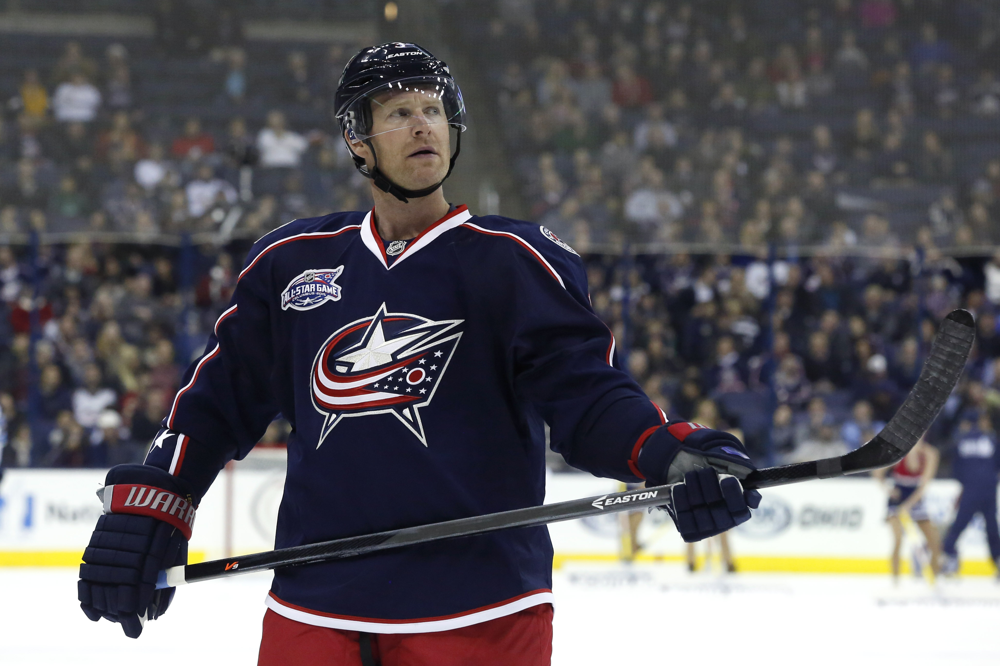 In this Nov 25, 2014, former Columbus Blue Jackets defenseman Jordan Leopold appears during the NHL game in Columbus, OH.
