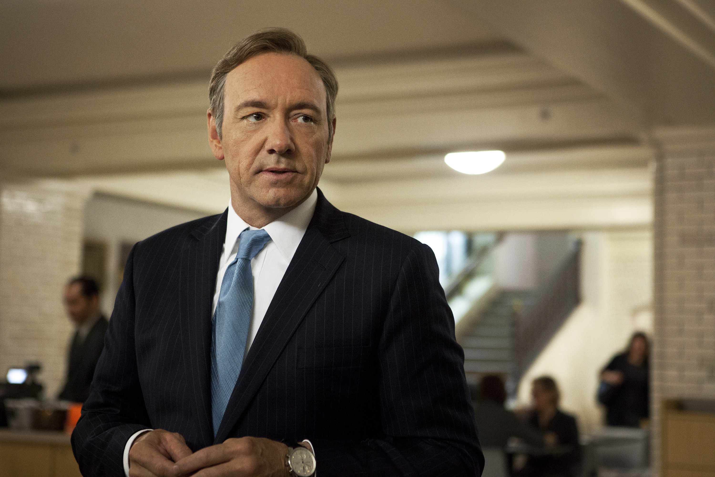 Kevin Spacey as U.S. Congressman Frank Underwood in a scene from the first season of the Netflix original series,  House of Cards.