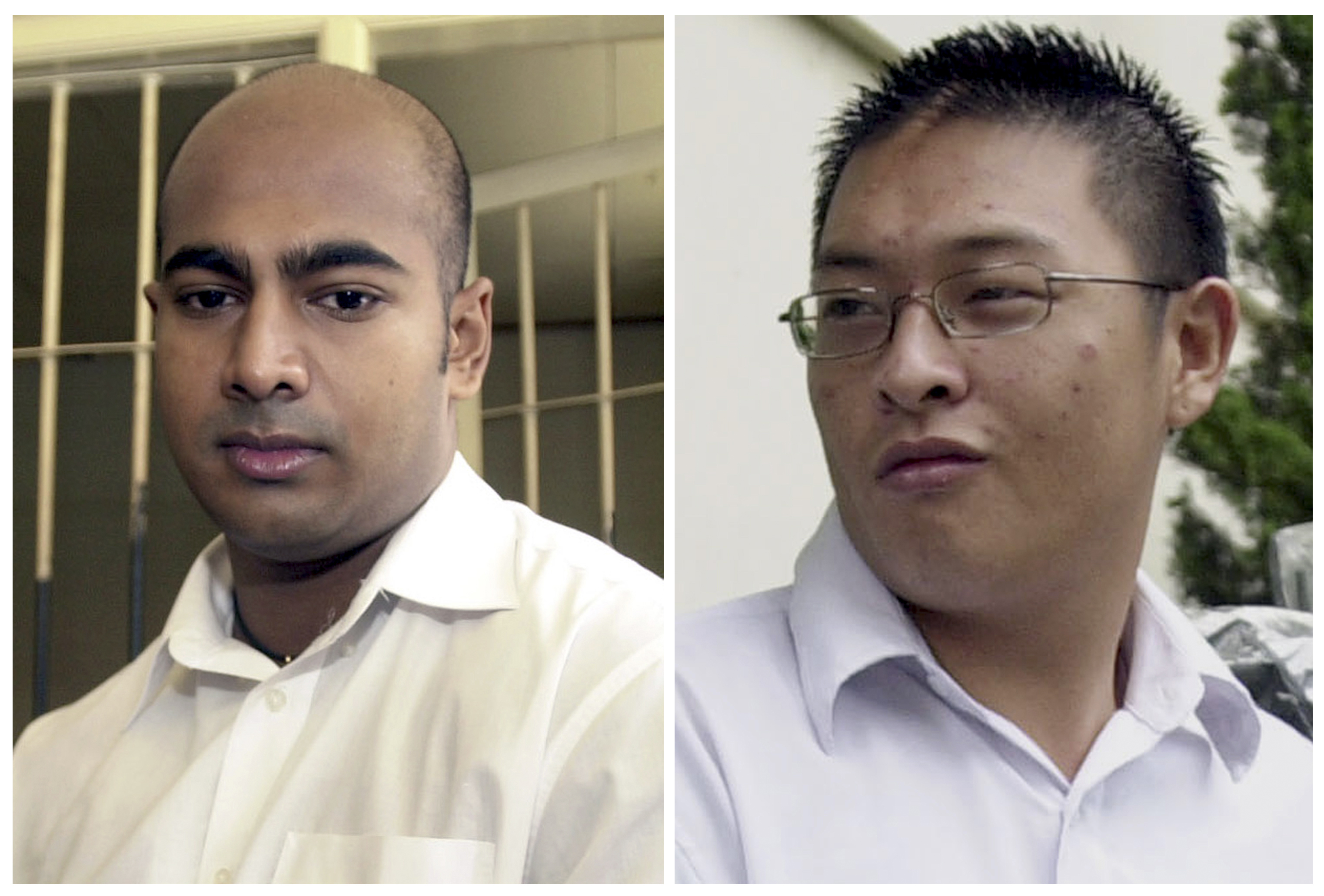 This combination of two photos from Jan. 24, 2006, left, and Jan. 26, 2006, shows Australian drug traffickers Myuran Sukumaran, left, and Andrew Chan during their trial in Bali, Indonesia