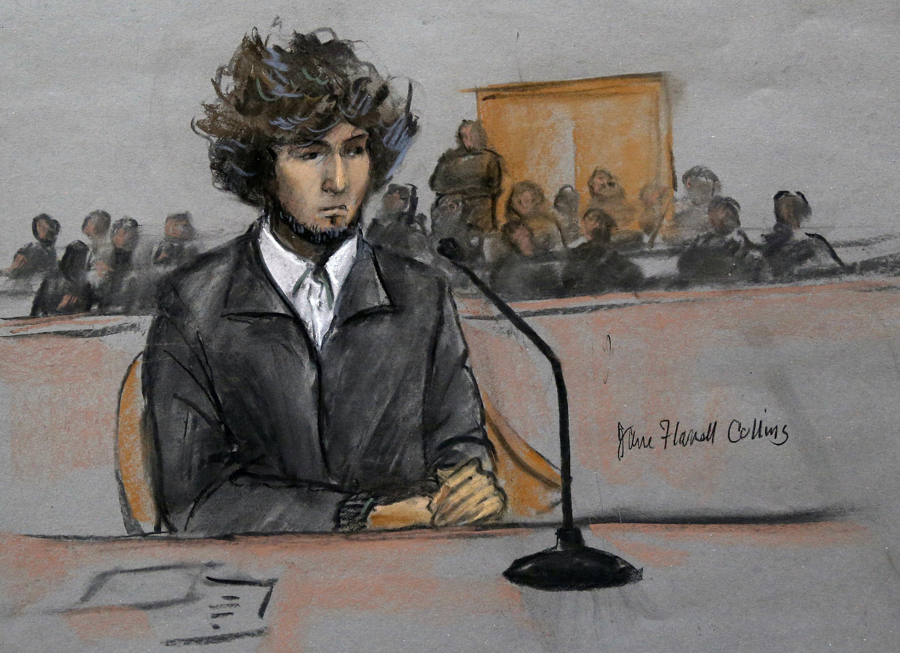 In this courtroom sketch, Boston Marathon bombing suspect Dzhokhar Tsarnaev appears on  Dec. 18, 2014