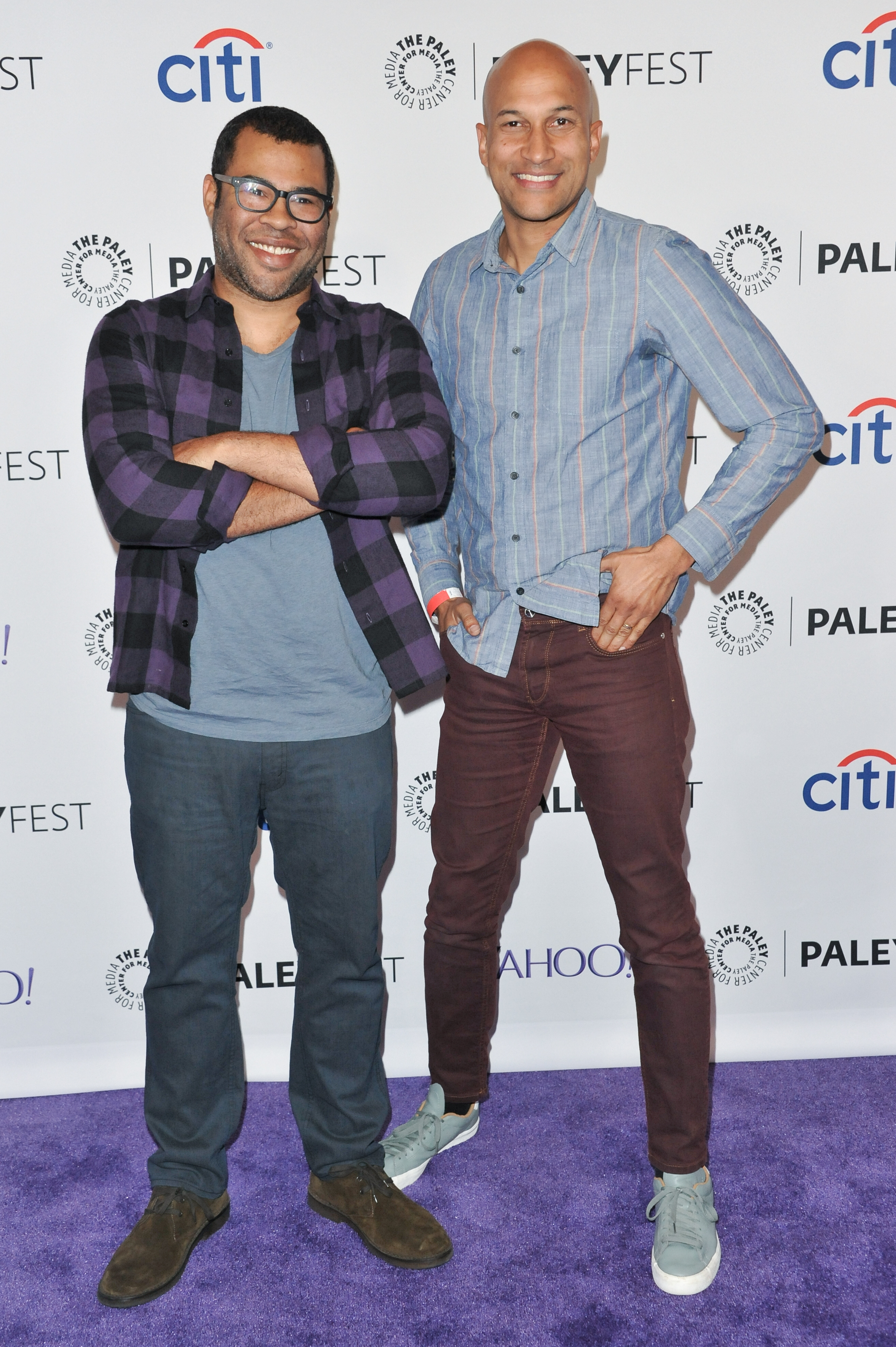 Jordan Peele (L) and Keegan-Michael Key (R)  arrive at the 32nd Annual Paleyfest :  A Salute to Comedy Central  in Los Angeles on March 7, 2015.
