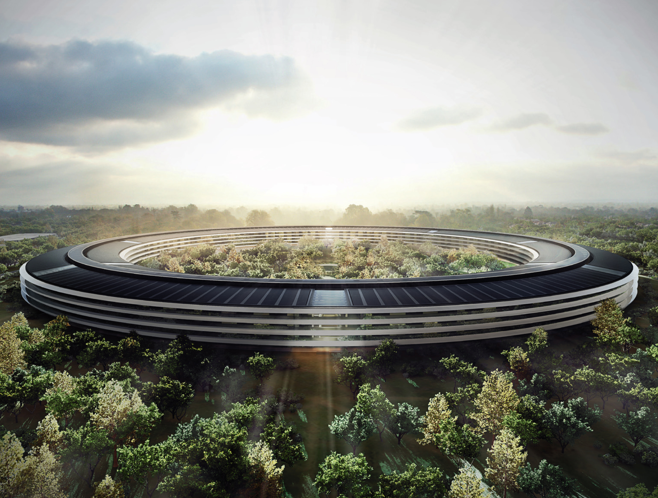 Concept art of the main building of Apple's new Cupertino campus.
