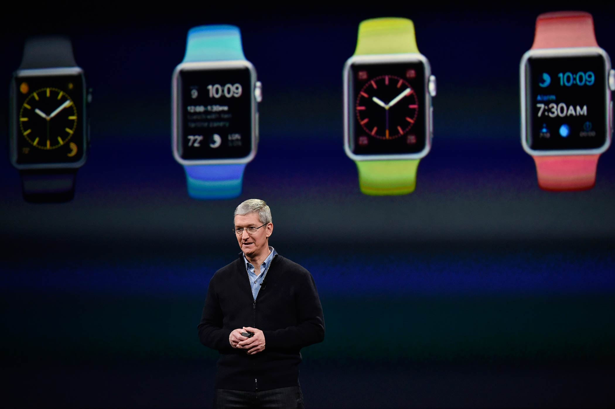 Tim Cook, CEO of Apple, speaks during the Apple Inc. Spring Forward event in San Francisco, Calif. on March 9, 2015.