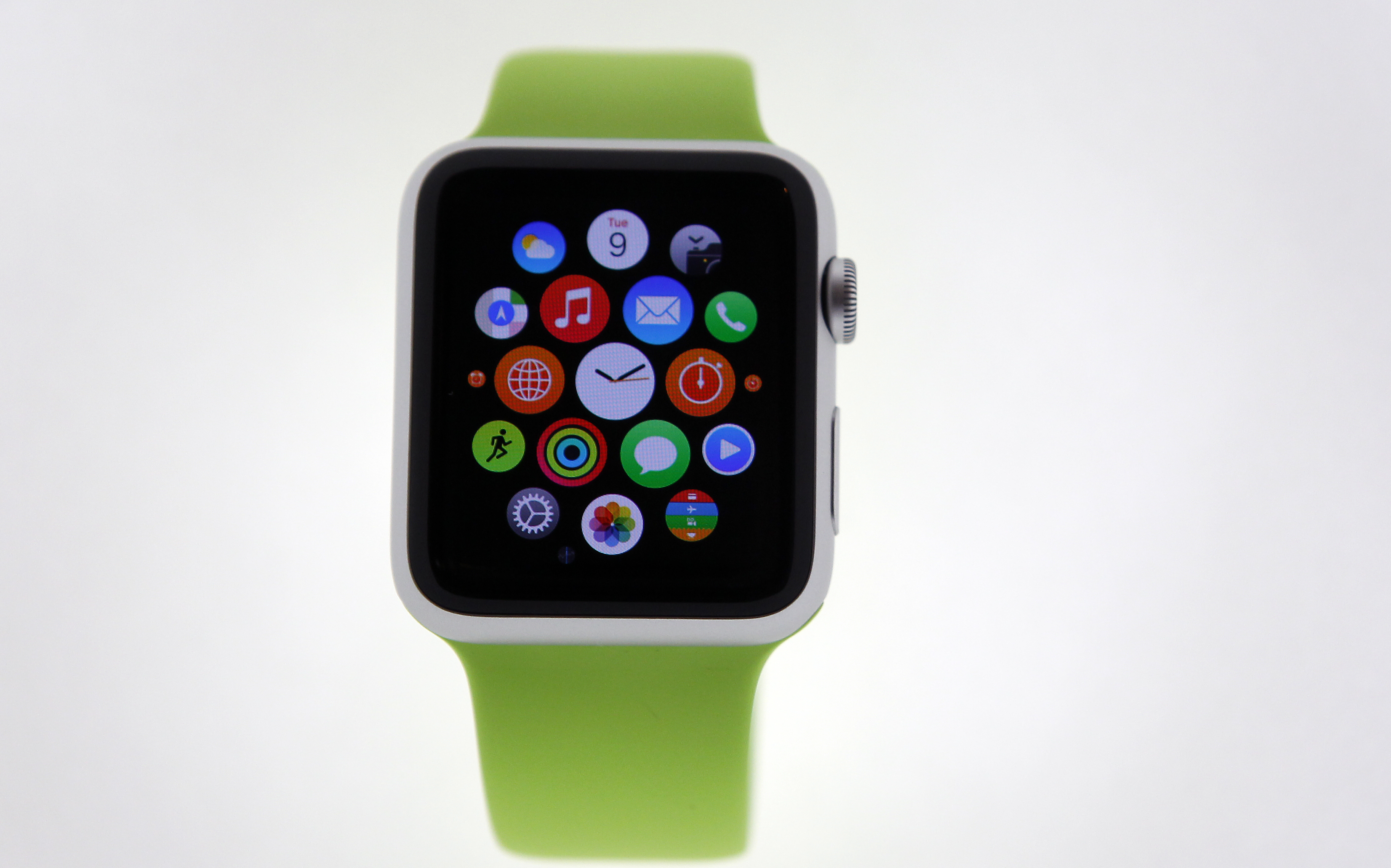 The new Apple Watch is displayed during an Apple special event at Colette store on Sept. 30, 2014 in Paris, France.