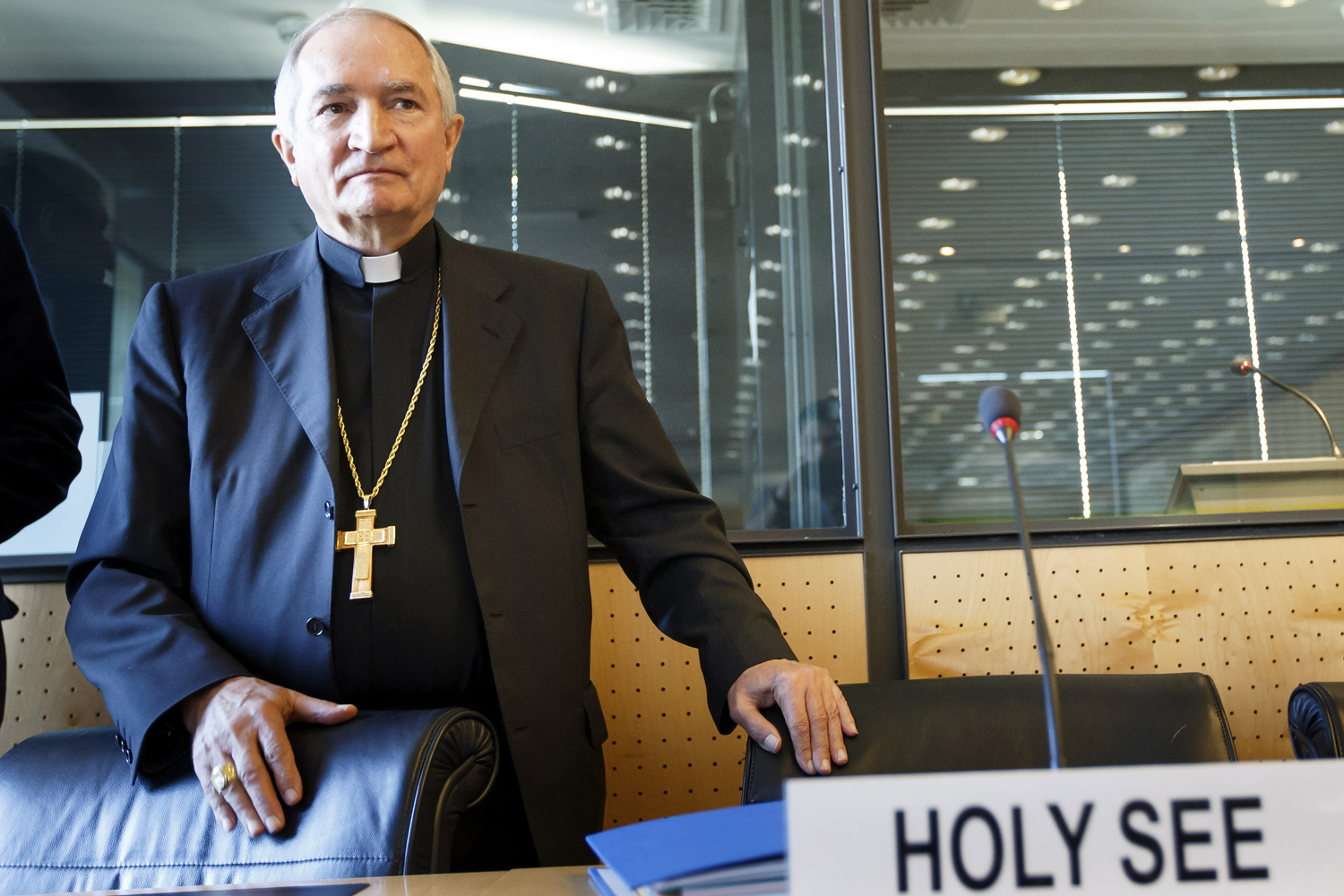 Archbishop Silvano Tomasi arrives prior to the U.N. torture committee hearing on the Vatican, at the headquarters of the office of the High Commissioner for Human Rights in Geneva on May 5, 2014.