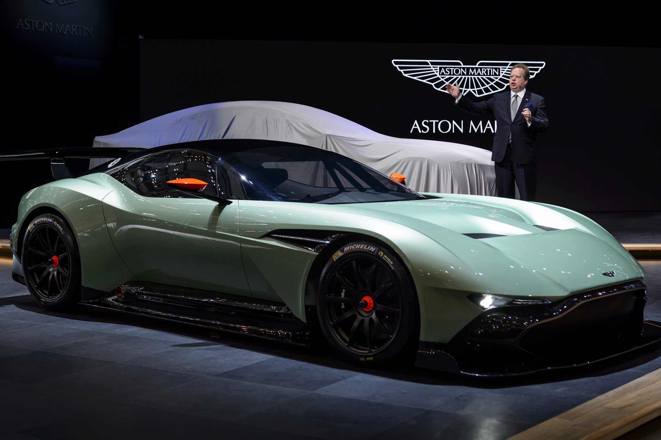 Aston Martin Vulcan. An Aston unlike any other before it. Only  24 of these will be  made. The car has a V12 engine that pumps out over 800 horsepower.