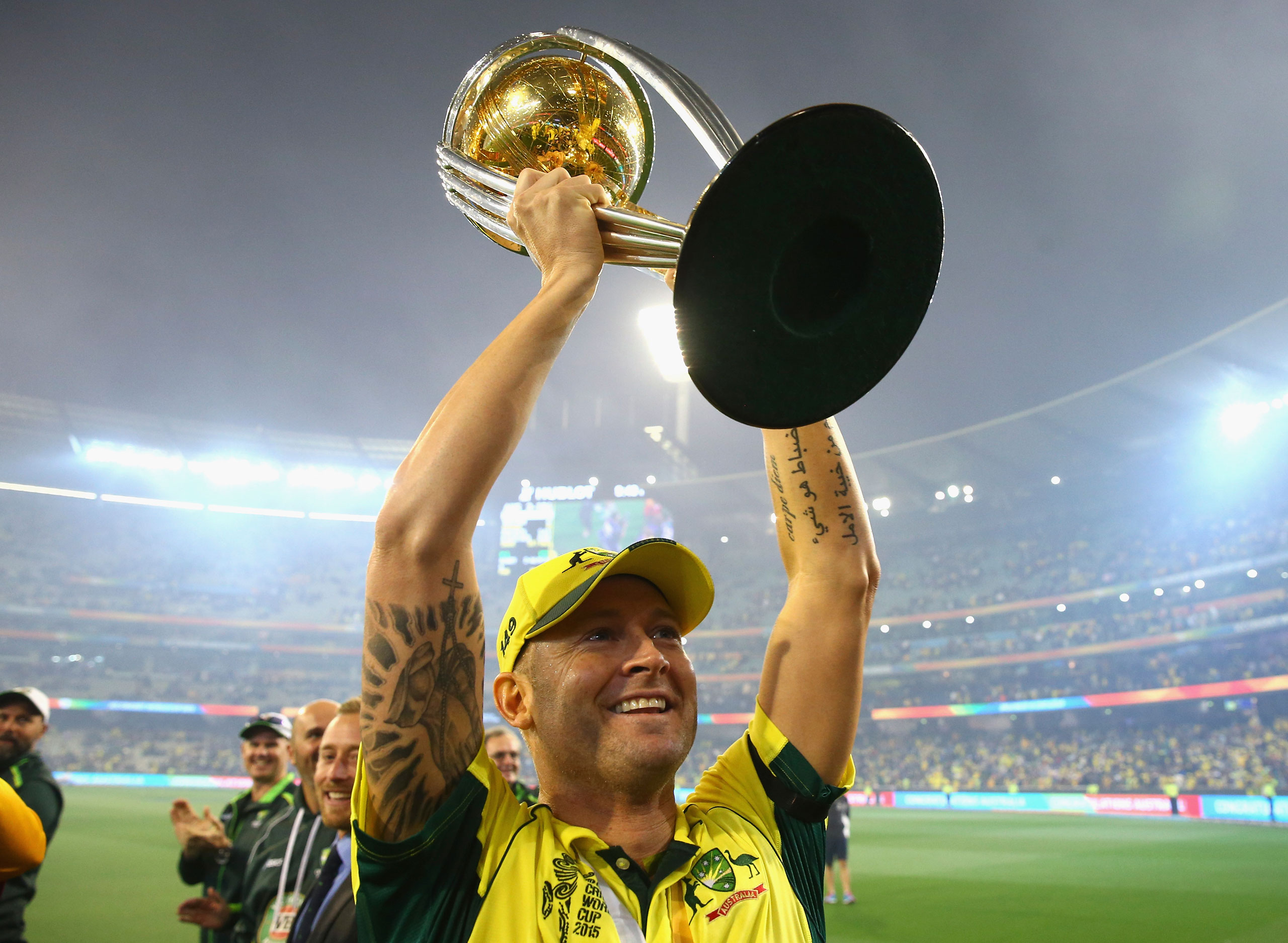 Michael Clarke of Australia celebrates with the trophy during the 2015 ICC Cricket World Cup final match between Australia and New Zealand at Melbourne Cricket Ground on March 29, 2015 in Melbourne.
