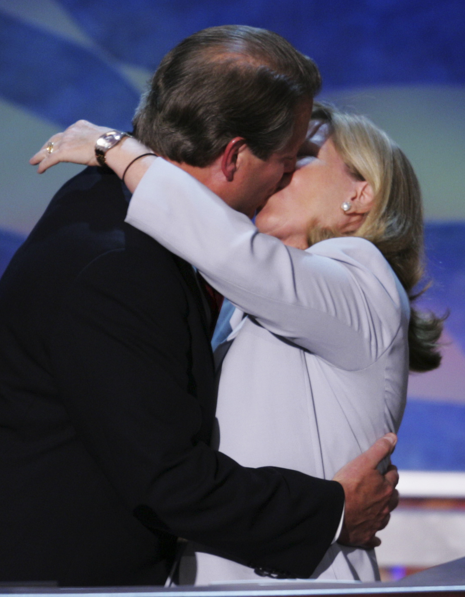 Former Vice President Al Gore is kissed by his wife Tipper, after addressing the delegates at the Democratic National Convention on July 26, 2004, in Boston.
