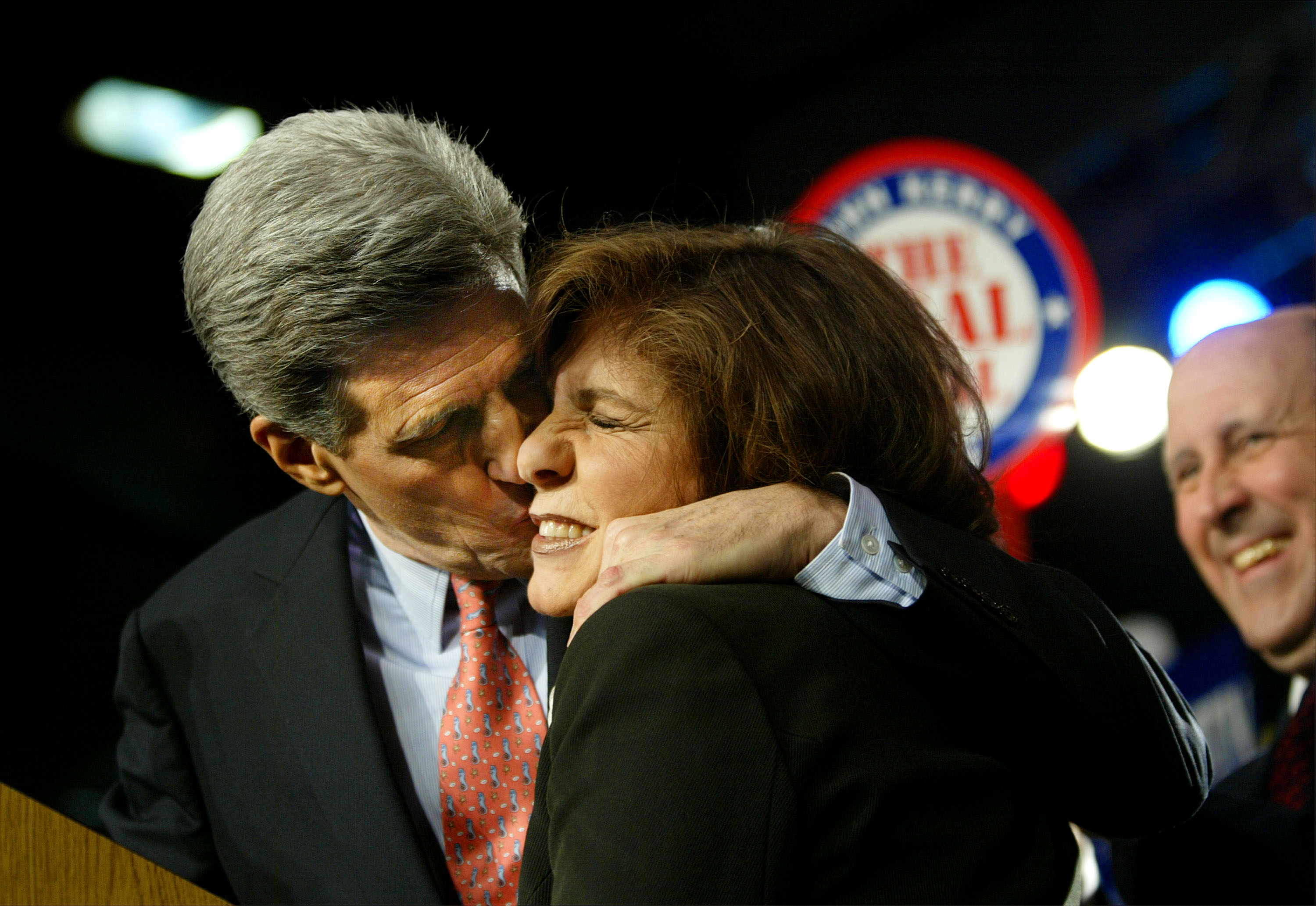 Democratic presidential candidate John Kerry kisses his wife Teresa Heinz Kerry at a victory rally after the U.S. senator from Massachusetts was projected the winner in the Wisconsin primary Feb. 17, 2004 in Madison, Wisc.