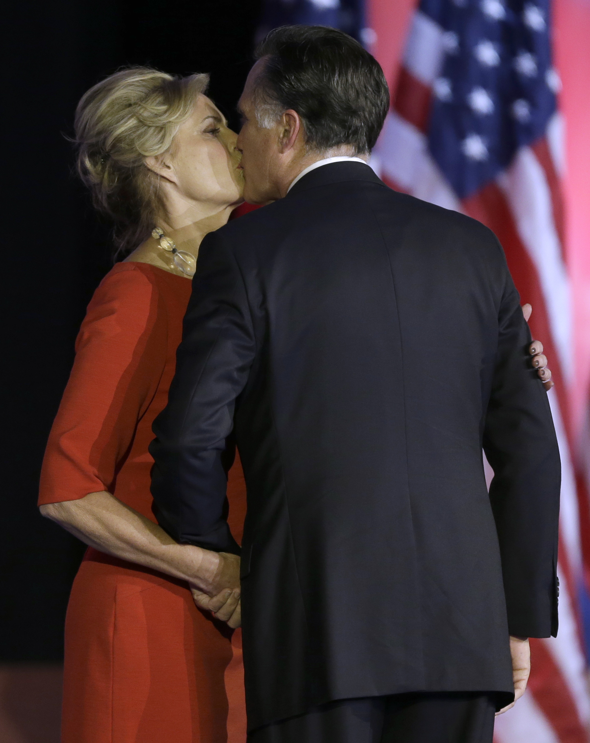 Republican presidential candidate and former Massachusetts Gov. Mitt Romney gets a kiss from his wife Ann during his election night rally on Nov. 7, 2012, in Boston.