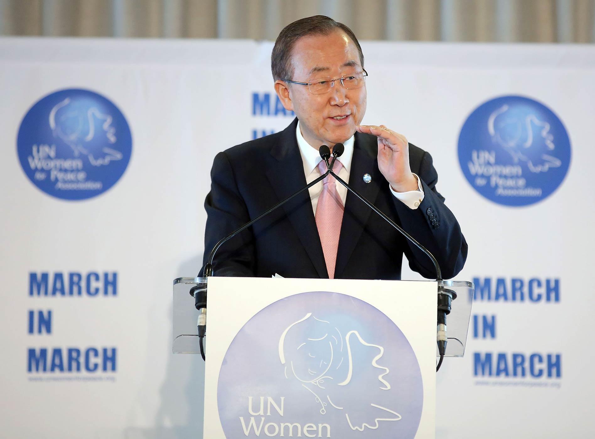 U.N. Secretary-General Ban Ki-moon speaks at the U.N. Women for Peace Association's International Women's Day celebration in New York City on March 6, 2015