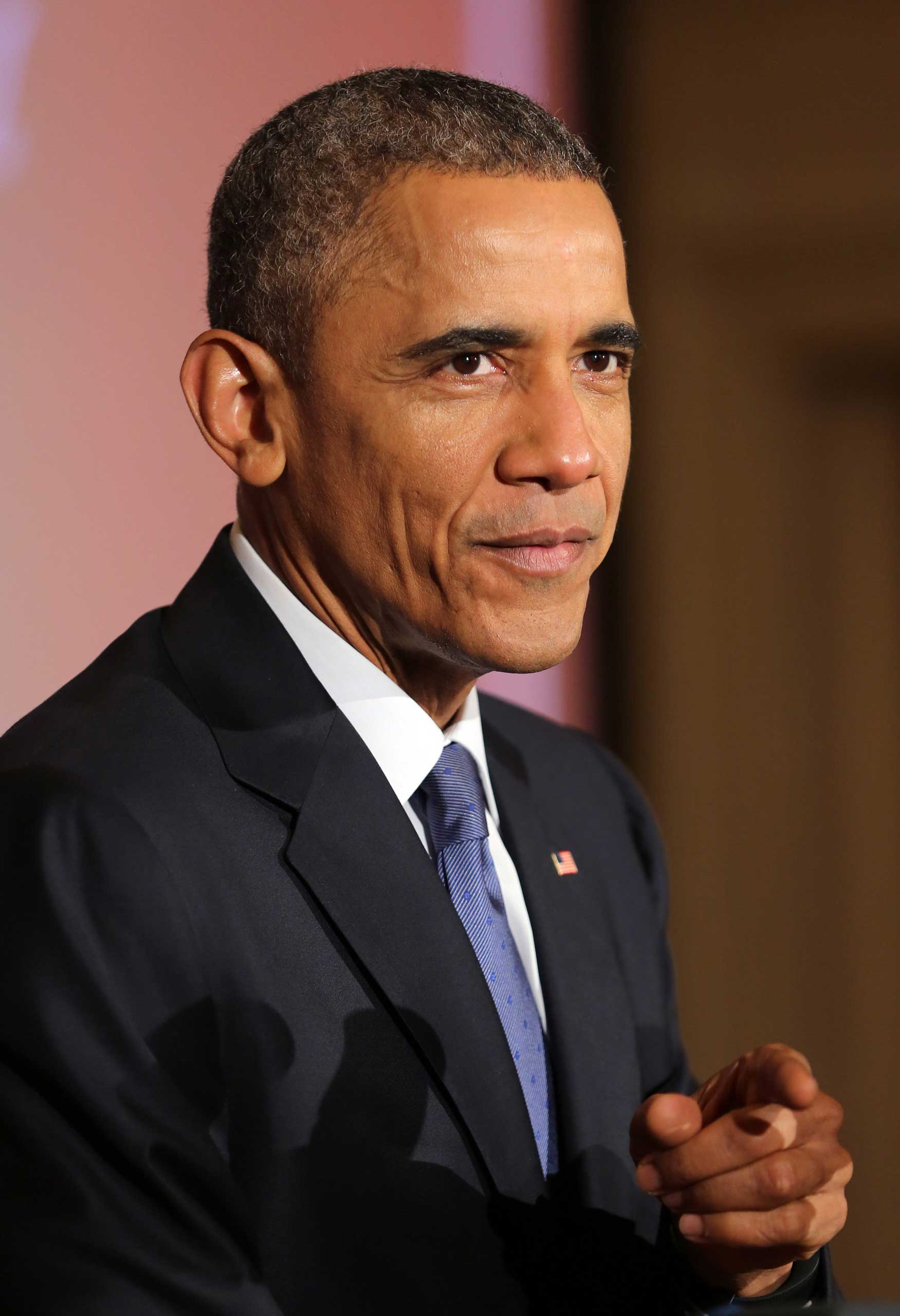 President Barack Obama hosts the second-annual White House Student Film Festival in the East Room of the White House, in Washington on March 20, 2015.