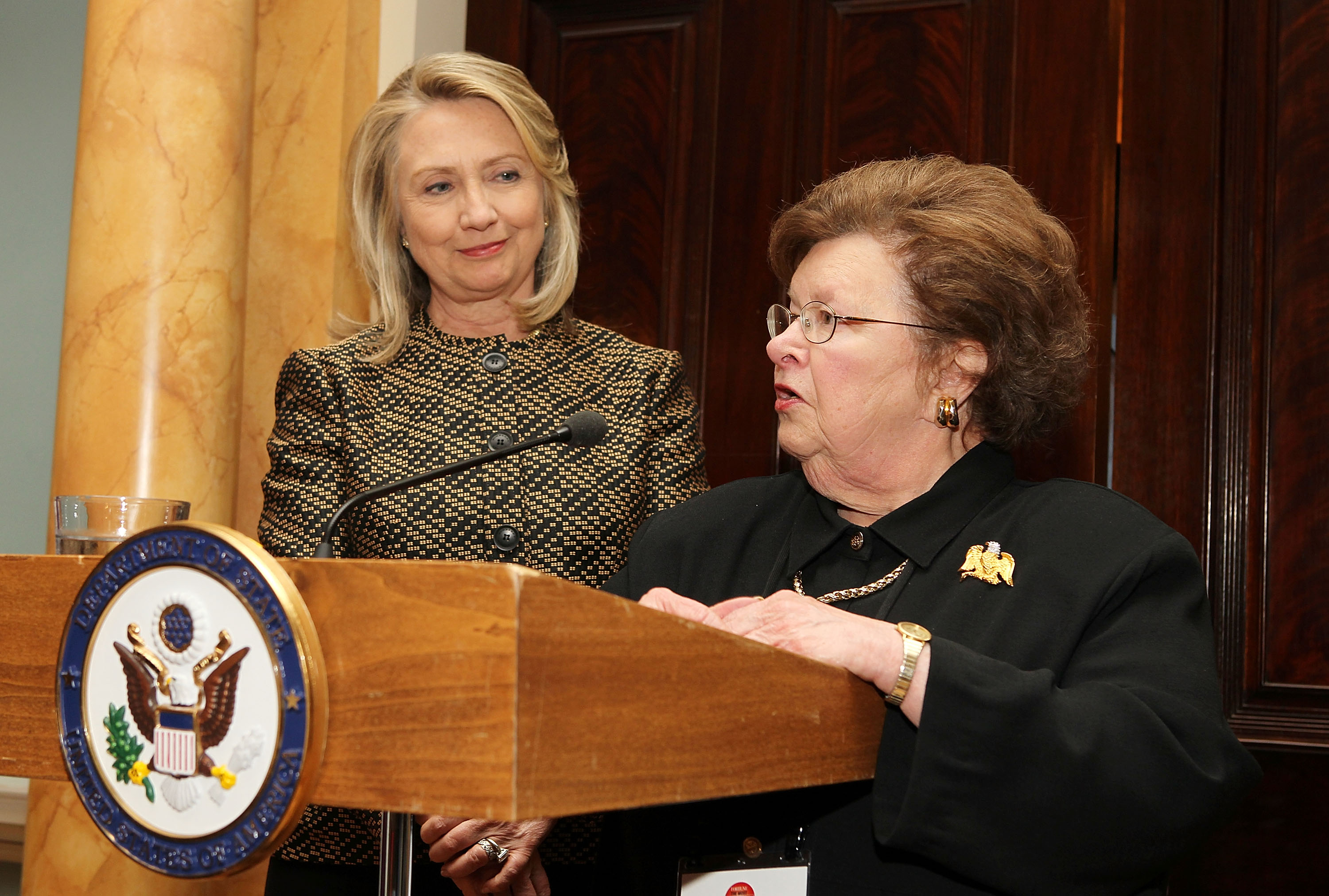 U.S. Secretary of State Hillary Clinton and Sen. Barbara Mikulski (D-MD) make a few remarks at FORTUNE Most Powerful Women Dinner at U.S Department Of State's Benjamin Franklin Diplomatic Room on April 30, 2012 in Washington, D.C.