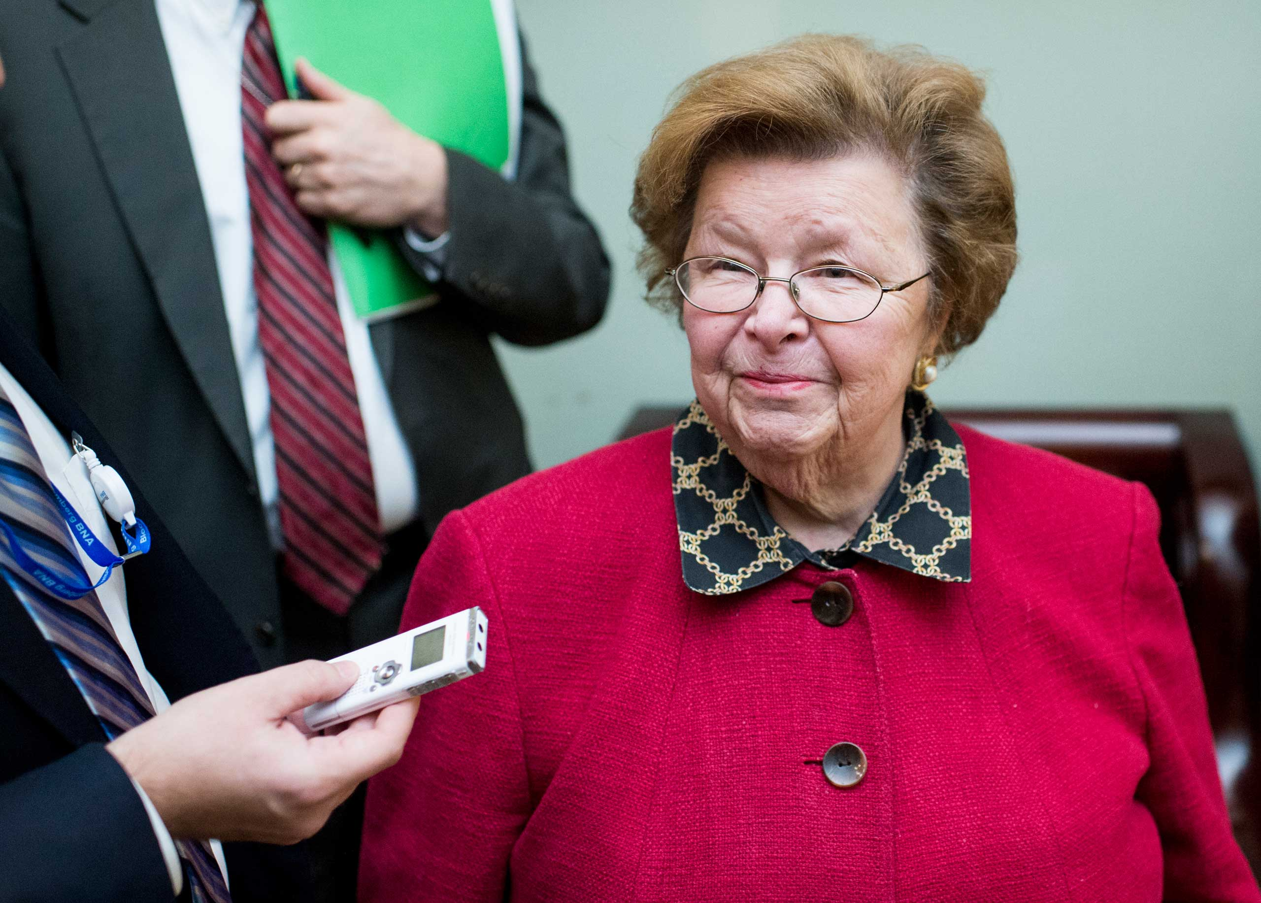 Senator Barbara Mikulsk (D., Md.) speaks with reporters as she arrives for the Senate Democrats' policy lunch on Dec. 9, 2014, in Washington, D.C.