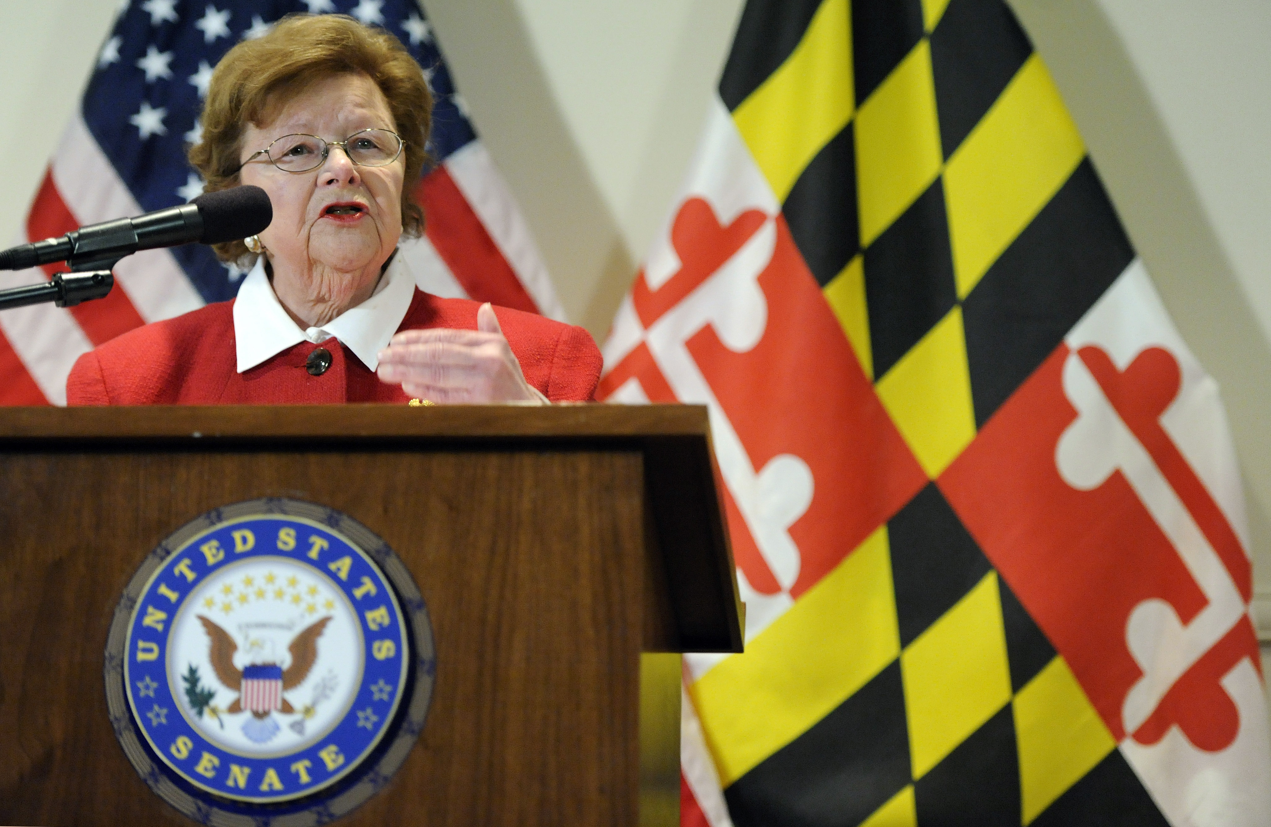Sen. Barbara Mikulski, D-Md., the longest-serving woman in the history of Congress, speaks during a news conference announcing her retirement after her current term, in the Fells Point section of Baltimore on March 2, 2015.