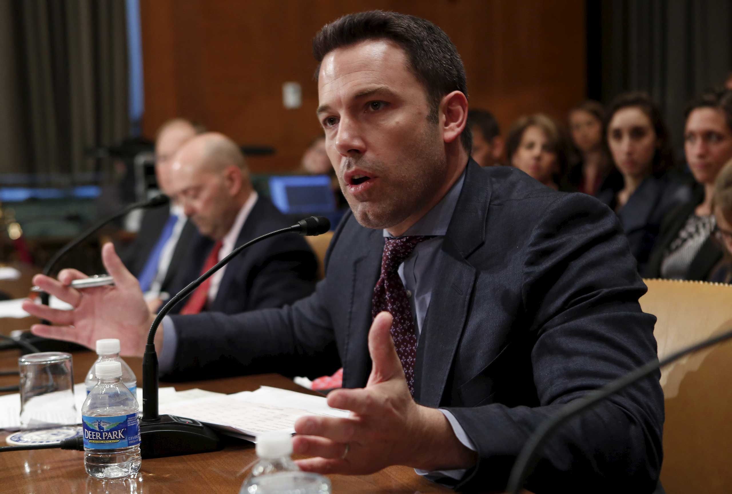 Ben Affleck, actor, filmmaker and founder of the Eastern Congo Initiative, testifies before a Senate Appropriations State, Foreign Operations and Related Programs Subcommittee hearing on  Diplomacy, Development, and National Security  on Capitol Hill in Washington March 26, 2015.