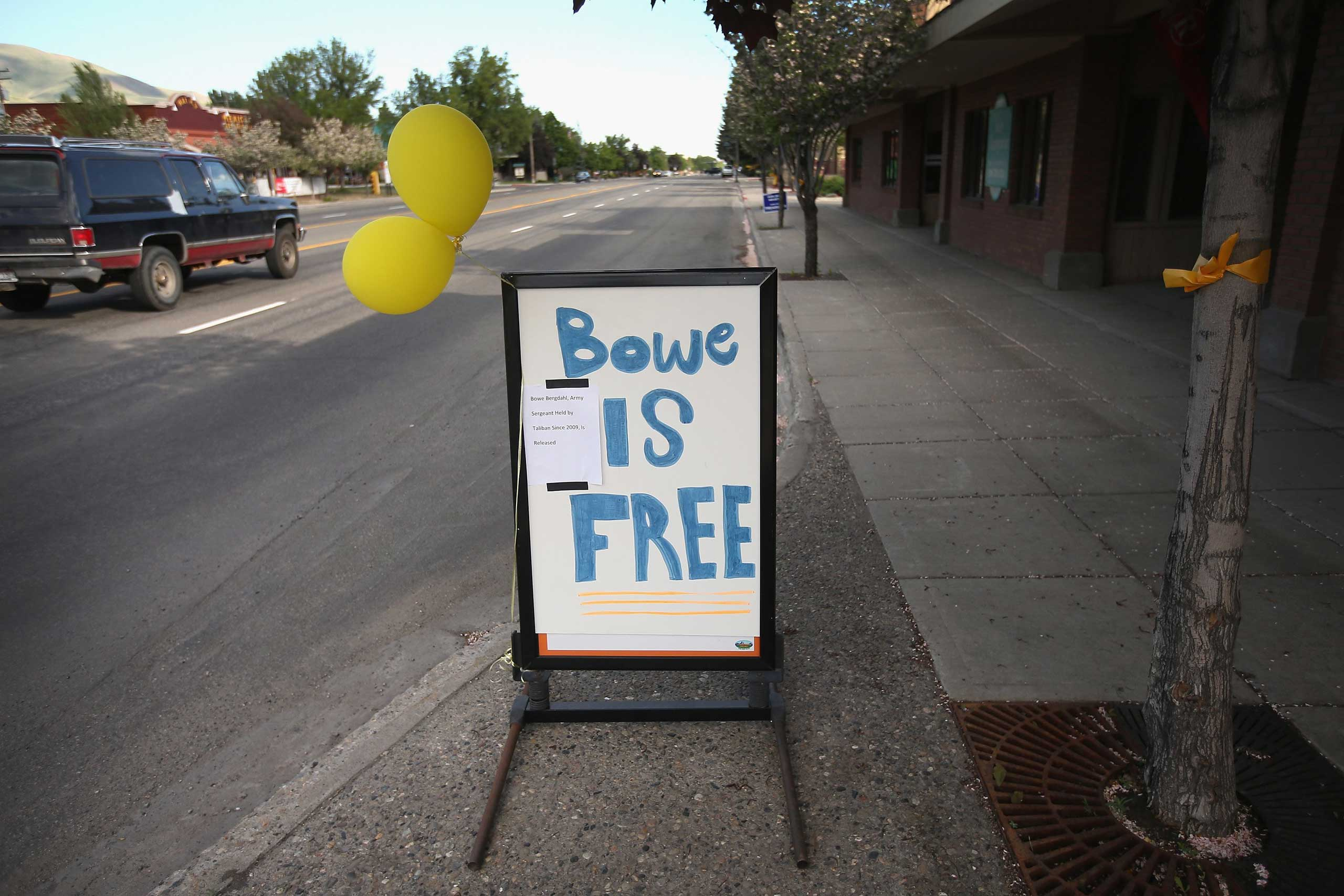 A sign announcing the release of Sgt. Bowe Bergdahl on Main Street on June 1, 2014 in Hailey, Idaho.