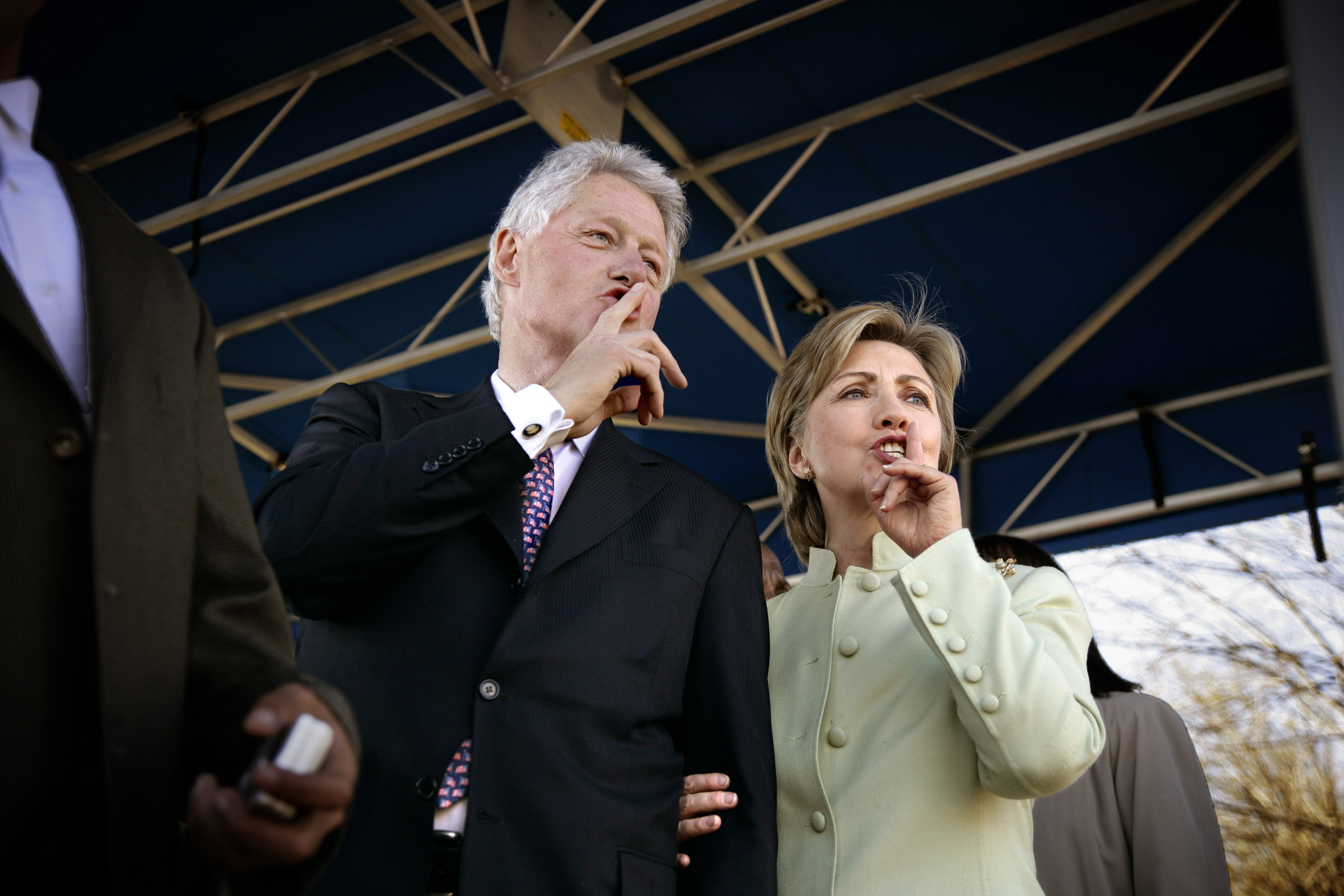 The Clintons hush the crowd at Bill's 2007 induction into the Voting Rights Hall of Fame.