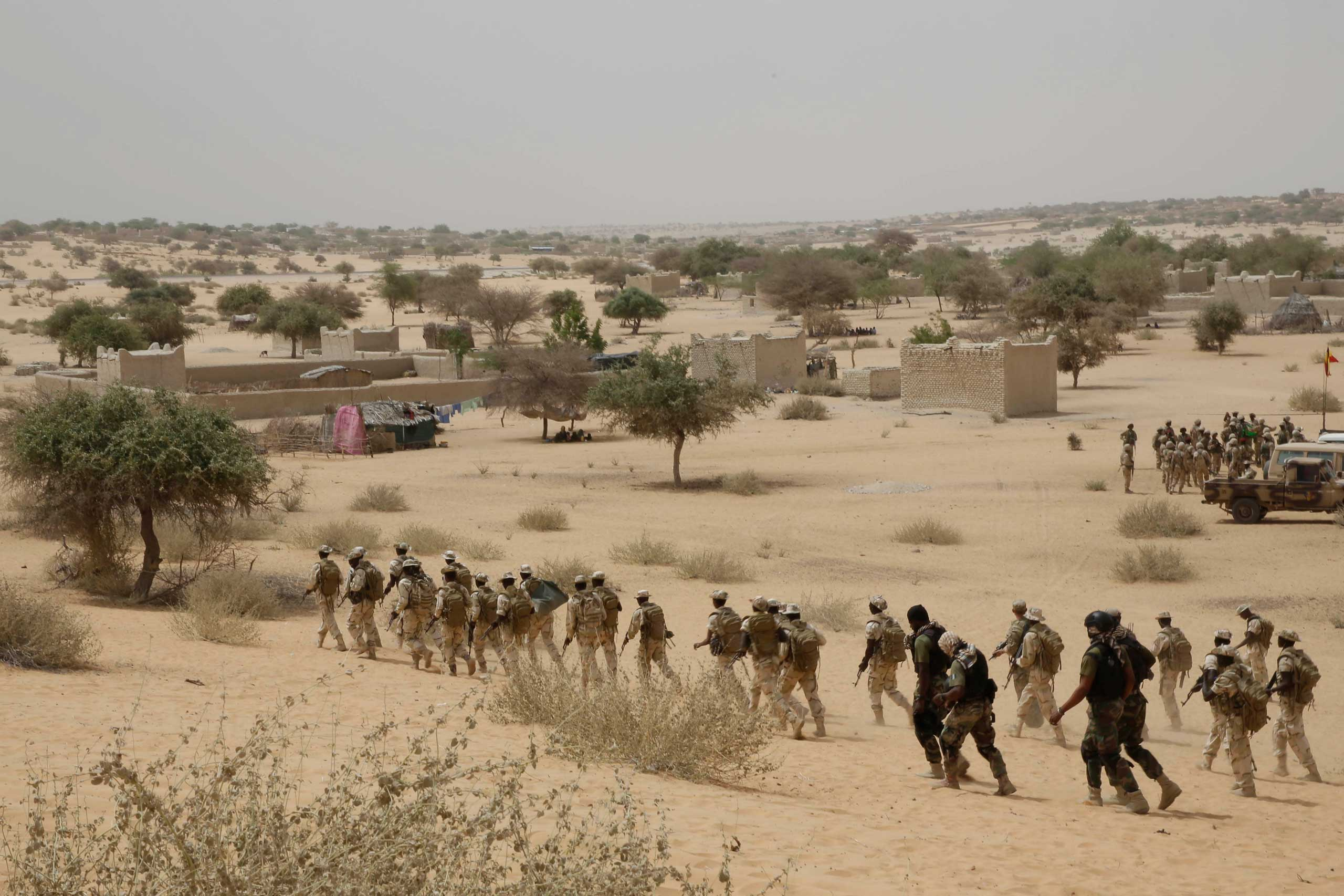 Chadian troops participate along with Nigerian special forces in an exercise in Mao, Chad on March 7, 2015.