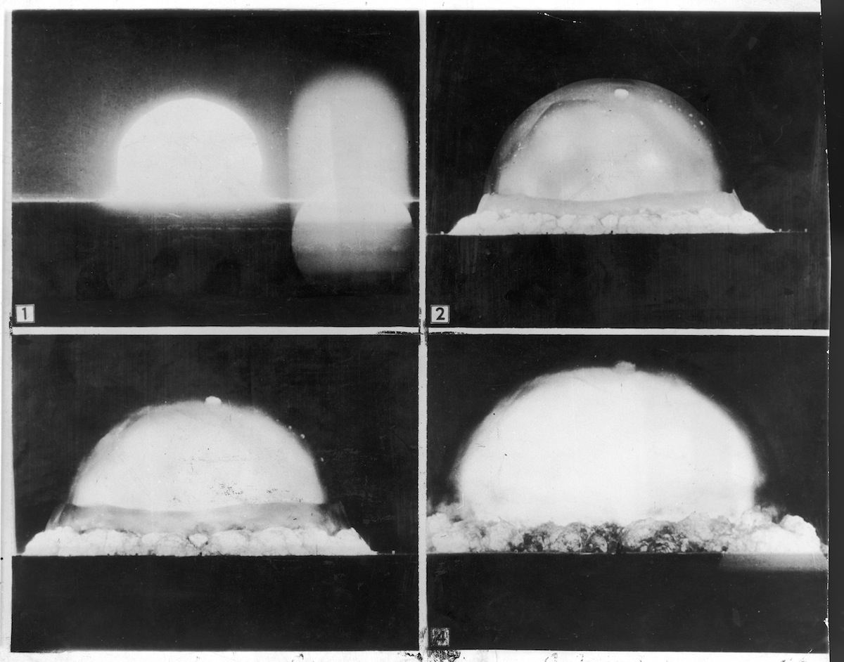 Photos recorded by U.S. Army automatic motion picture camera six miles distant when an atomic bomb was exploded at Alamo-Gordo in 1945