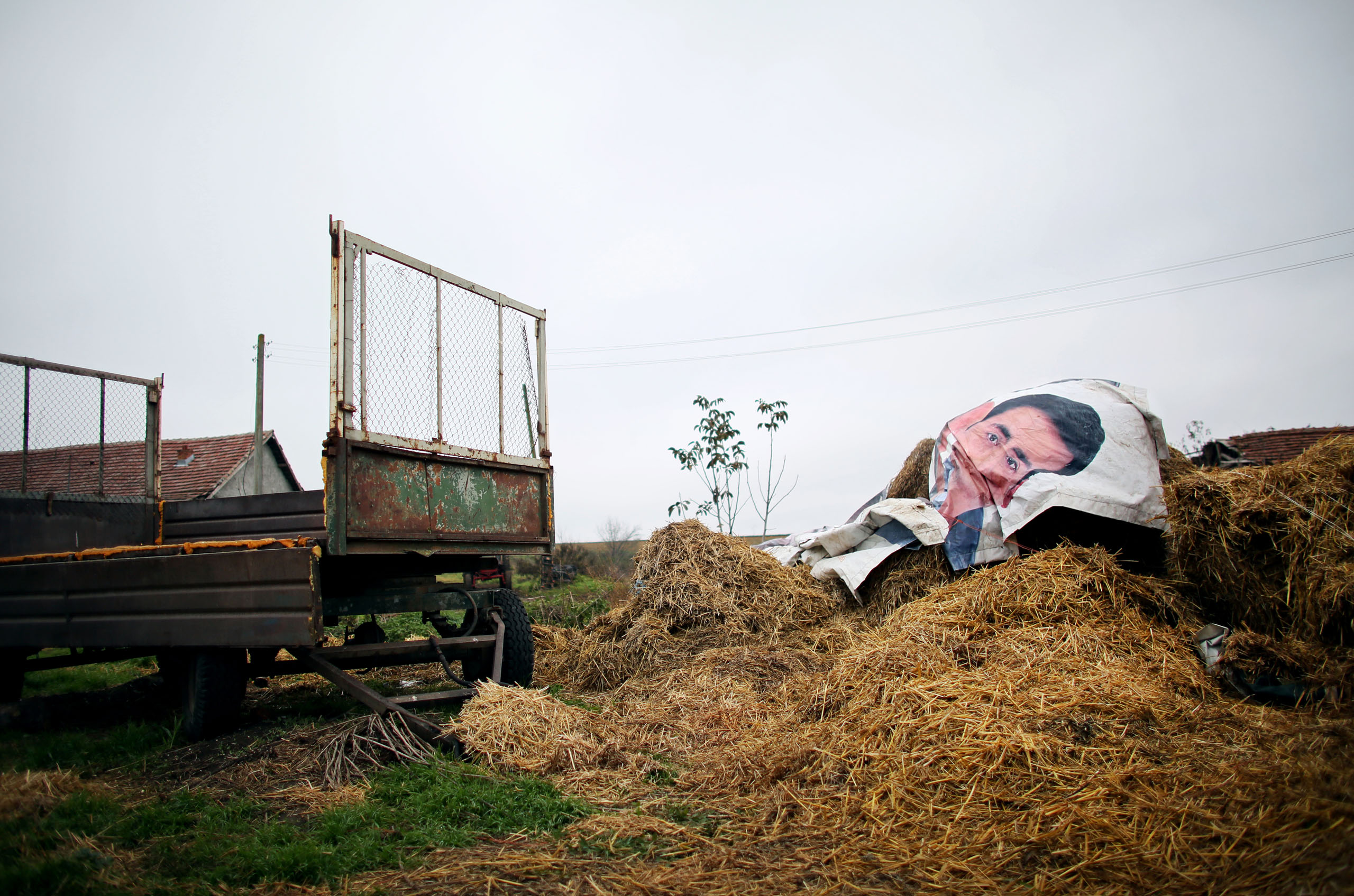 A poster of an advertisement is used as a covering for a farmer's stacks of hay, near Belene, Nov. 10, 2014.
