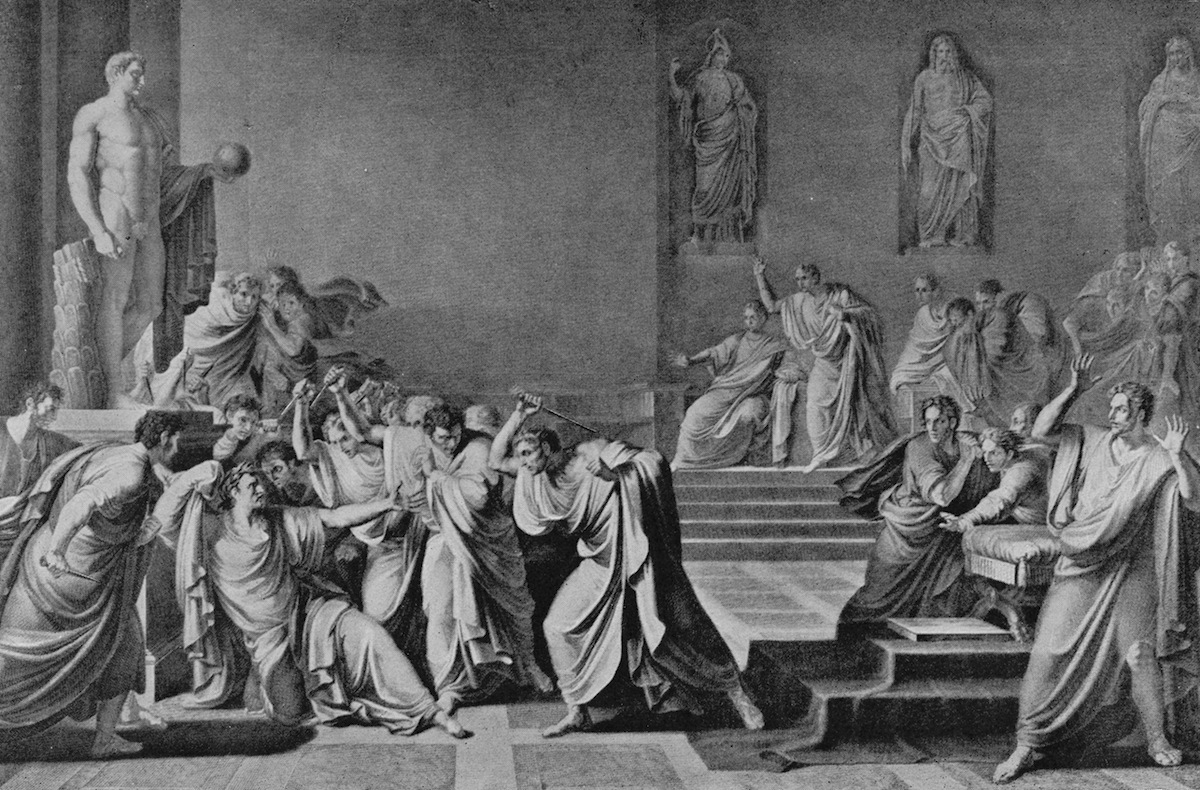 The assassination of Julius Caesar at the Senate in Rome, Mar. 15, 44 BC.