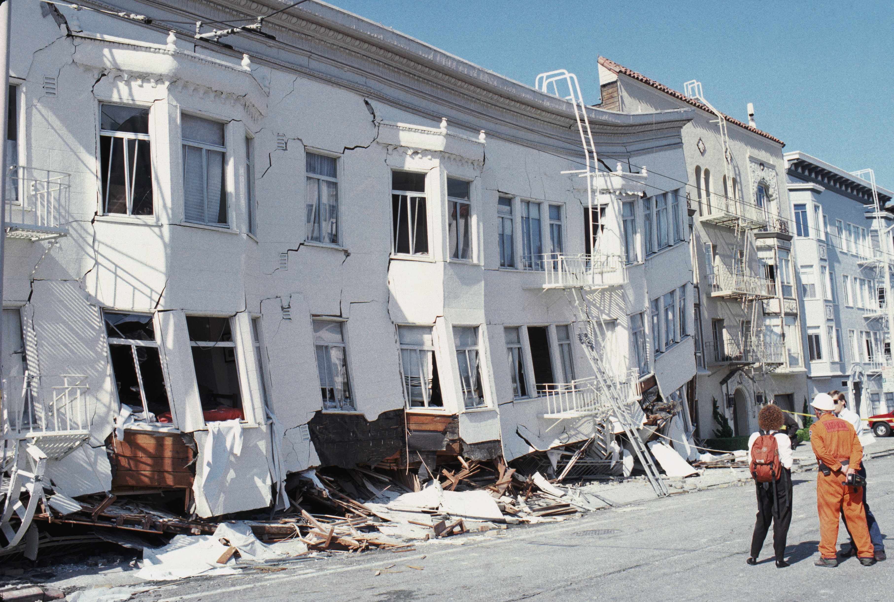 The Marina district disaster zone after an earthquake, measuring 7.1 on the richter scale on Oct. 17, 1989 in San Francisco.