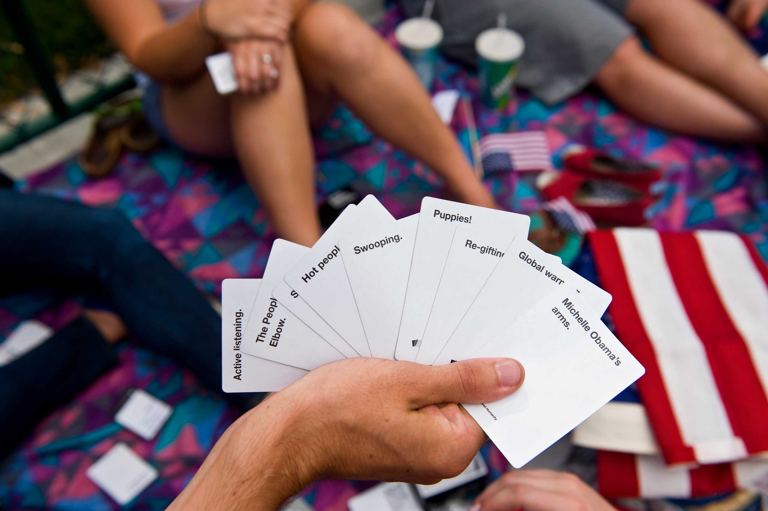 Students play Cards Against Humanity in Denver.