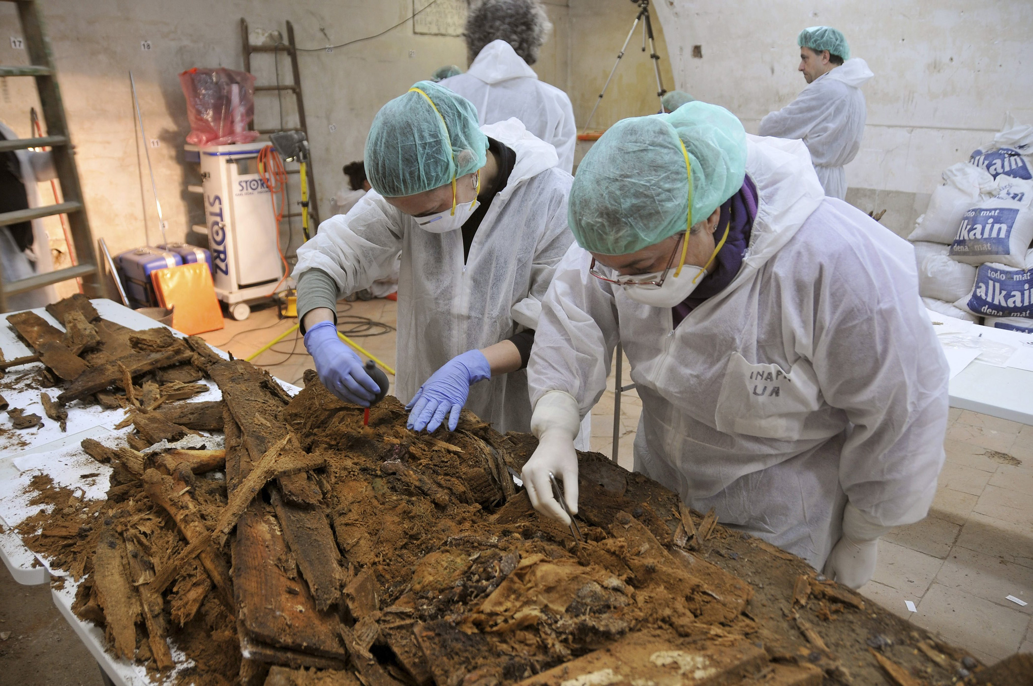 Forensic and anthropology experts labor to find Spanish writer Miguel de Cervantes' human remains at Trinitarias Convent's crypt in Madrid, Spain.