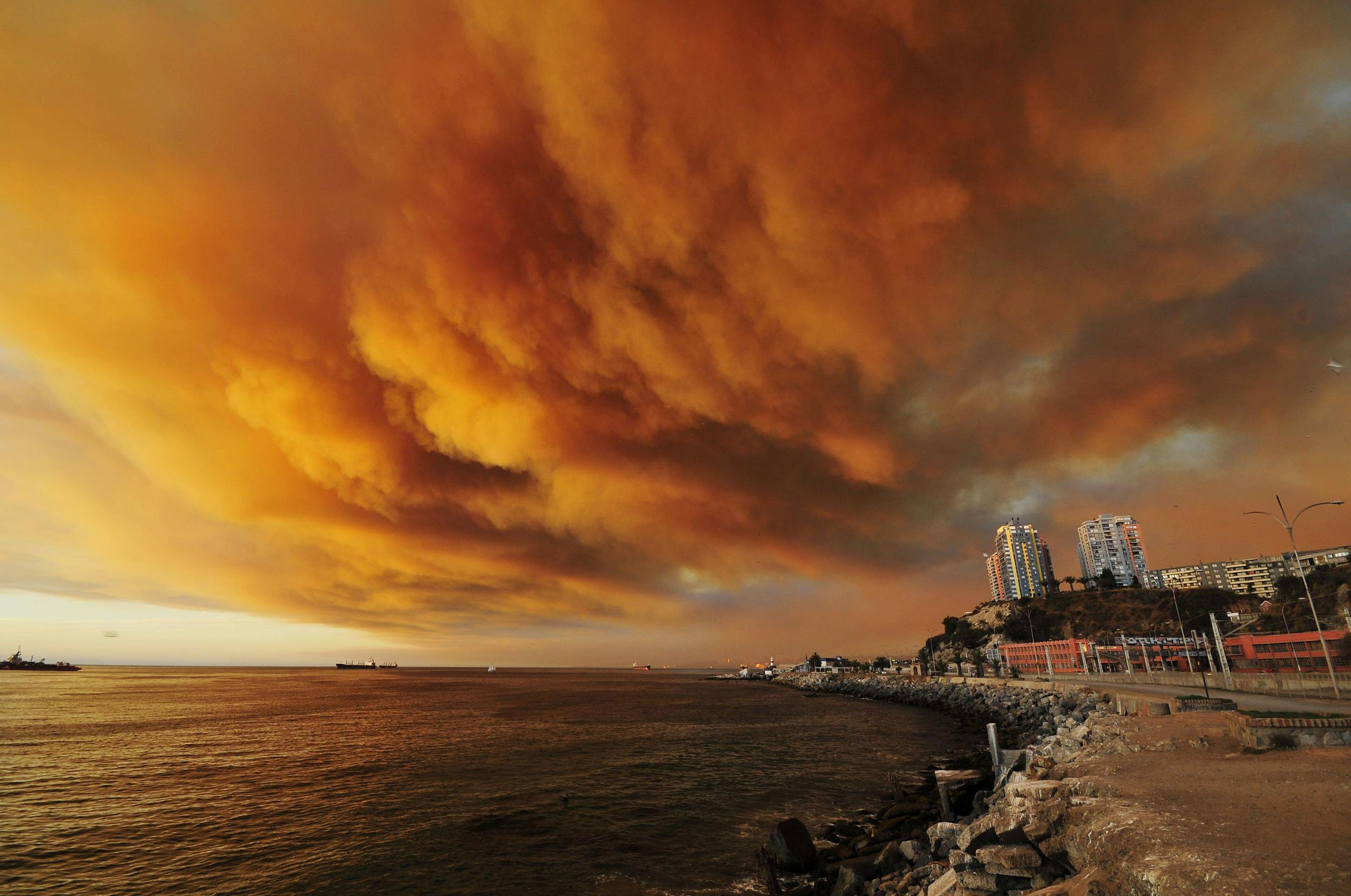 Smoke billows from the forest around Valparaiso in Chile, March 13, 2015.