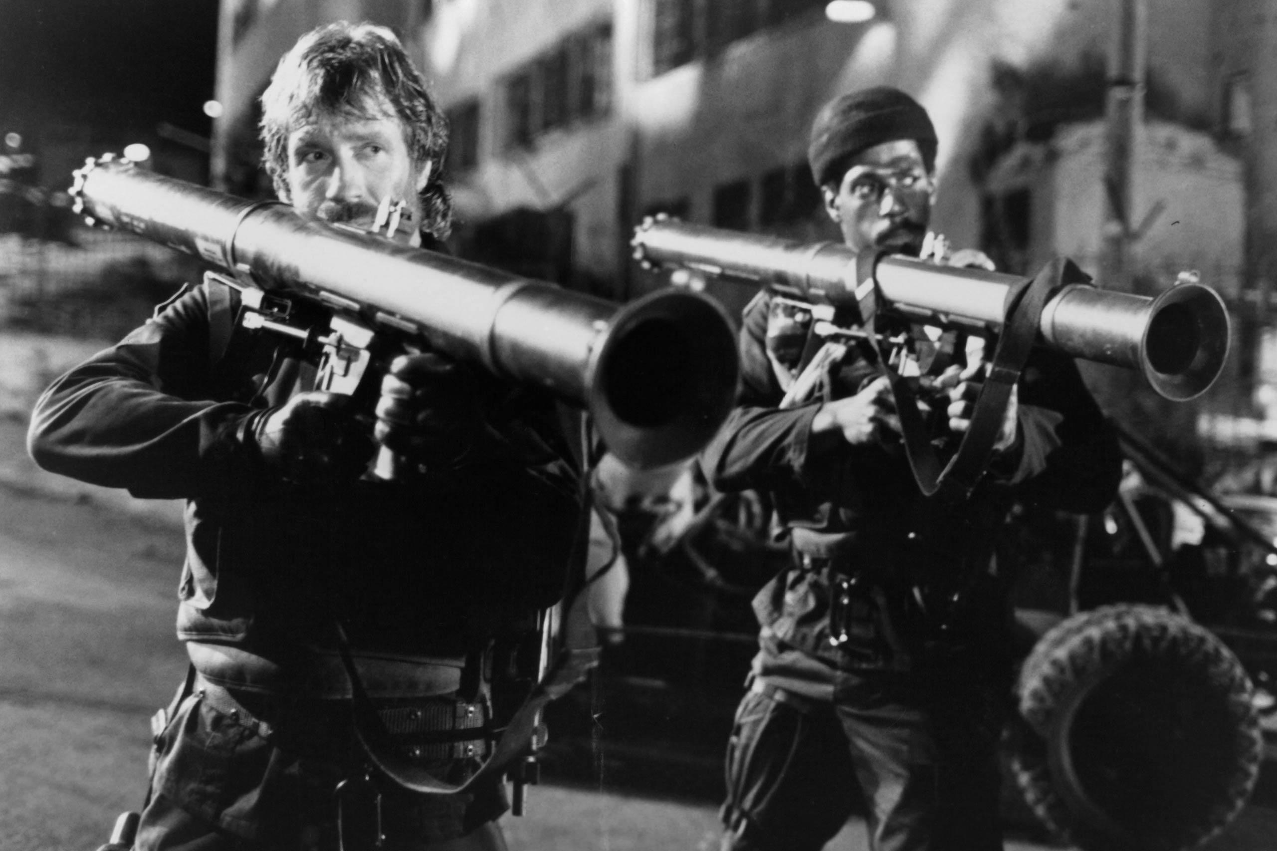 Chuck Norris as Major Scott McCoy in The Delta Force, 1986.