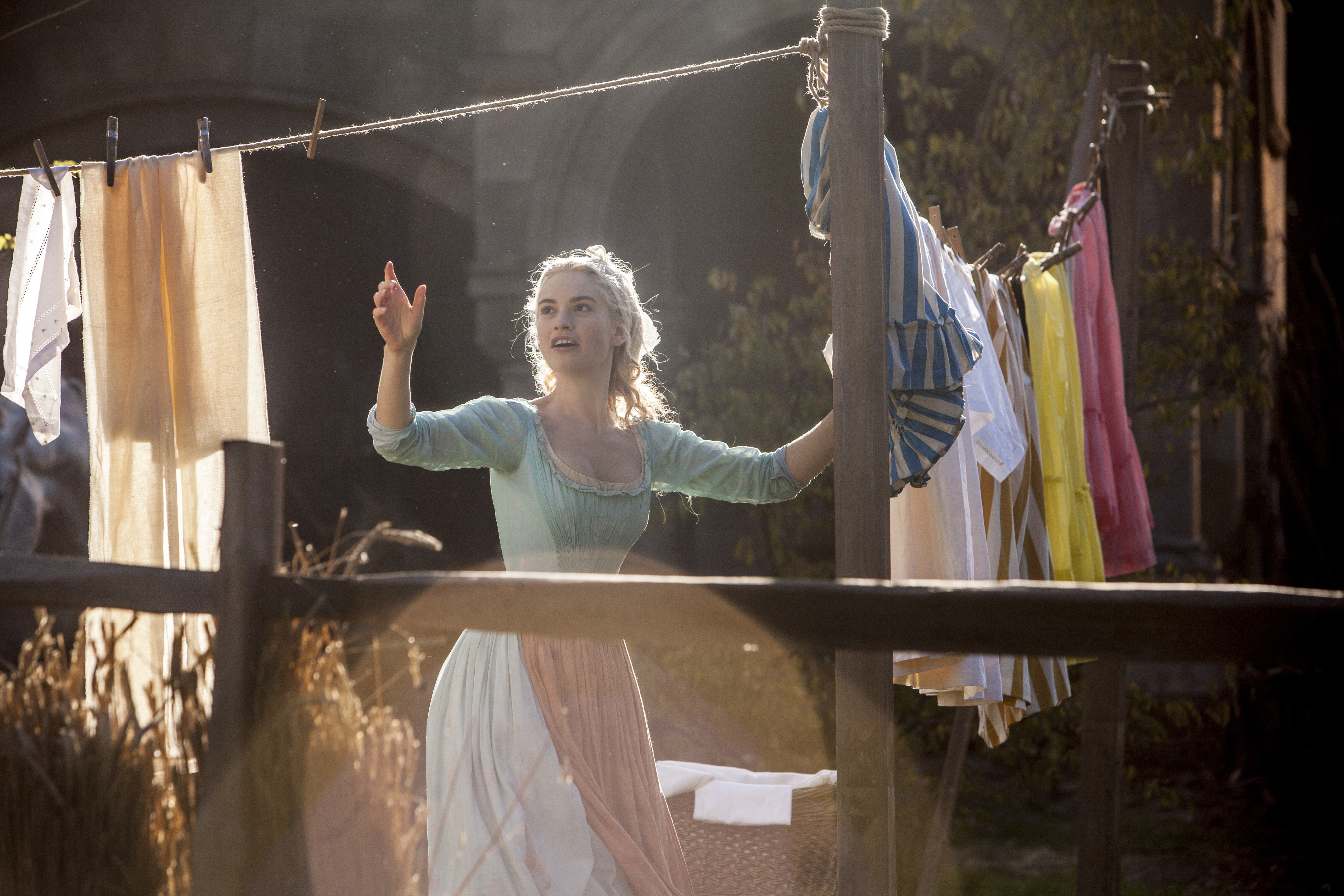 Lily James as Cinderella in Disney's 2015 live-action feature inspired by the classic fairy tale, Cinderella