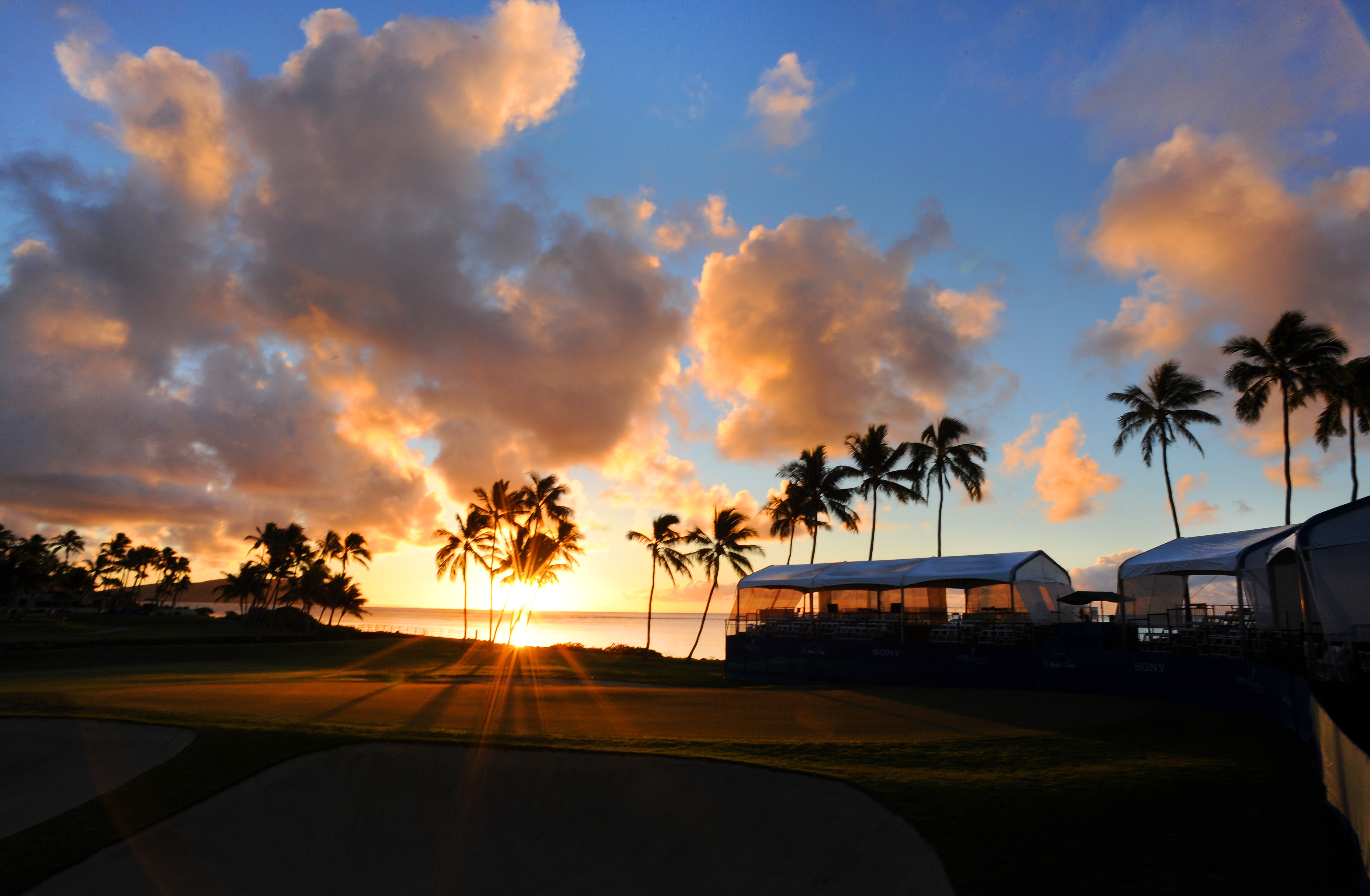 A course scenic shot at sunrise on the 17th hole during the first round of the Sony Open in Hawaii at Waialae Country Club on January 9, 2014 in Honolulu, Hawaii.