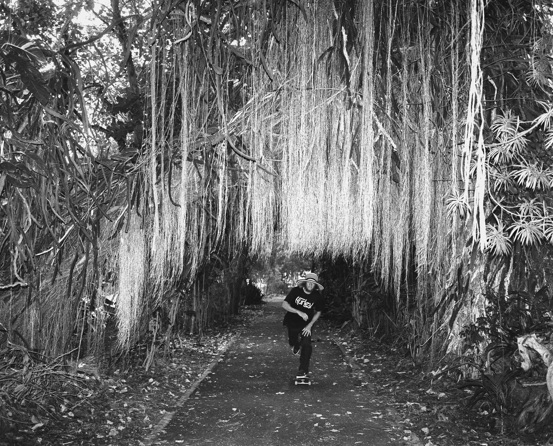 Greyson Fletcher skates on 'the path' at Oahu's North Shore, Hawaii.